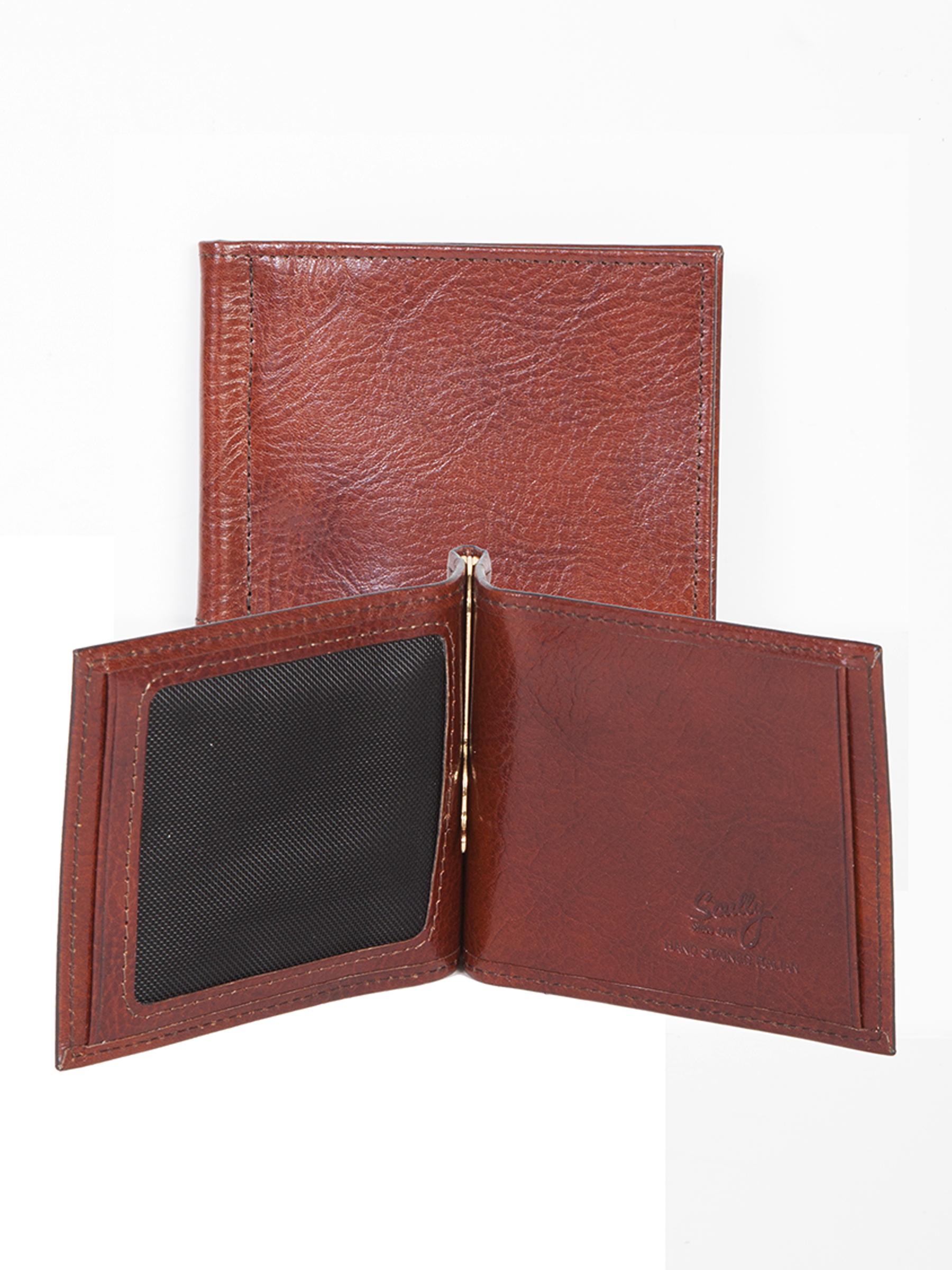Leather money clip w/id window