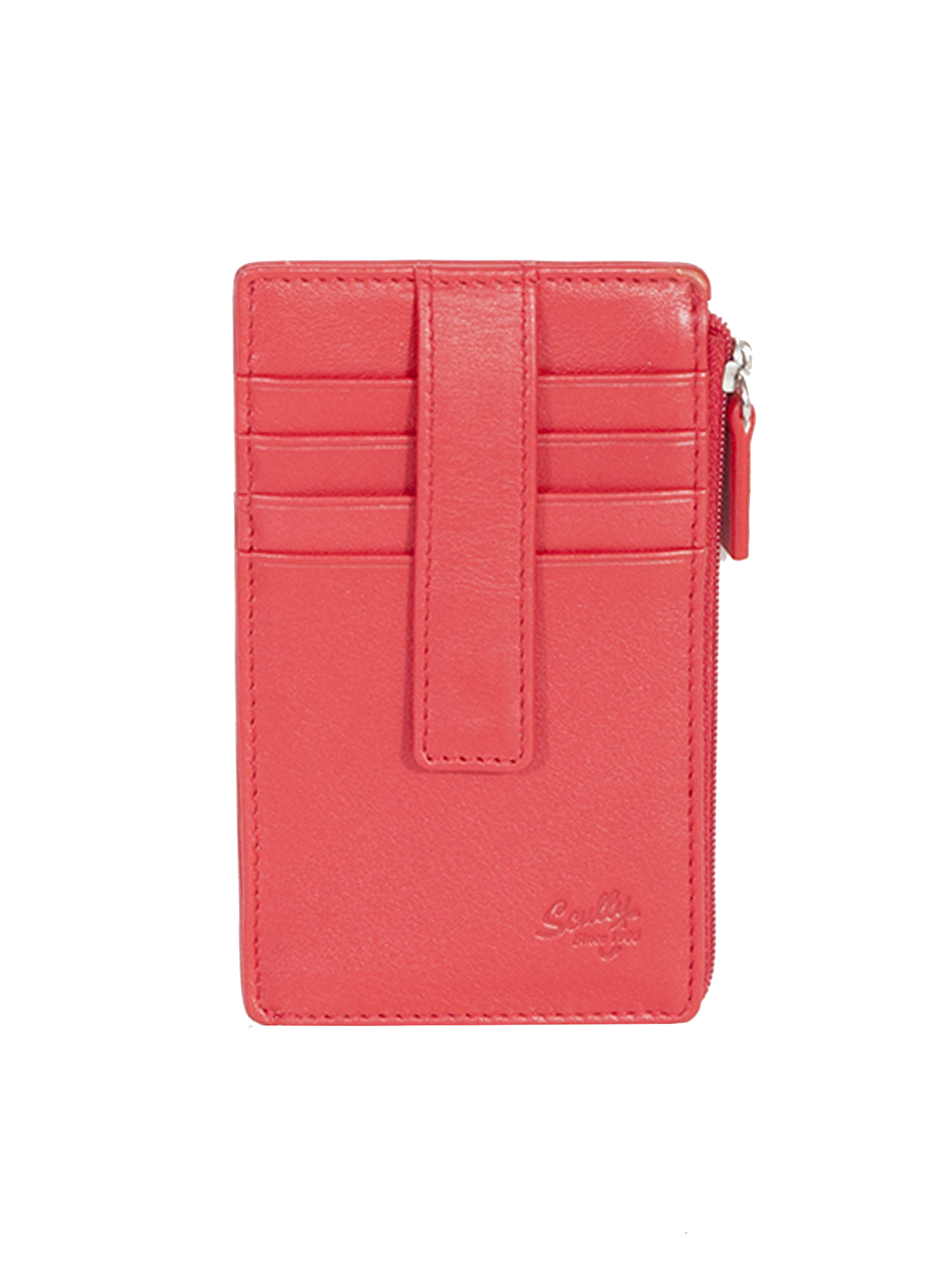 Ladies leather tab card holder and zip pouch