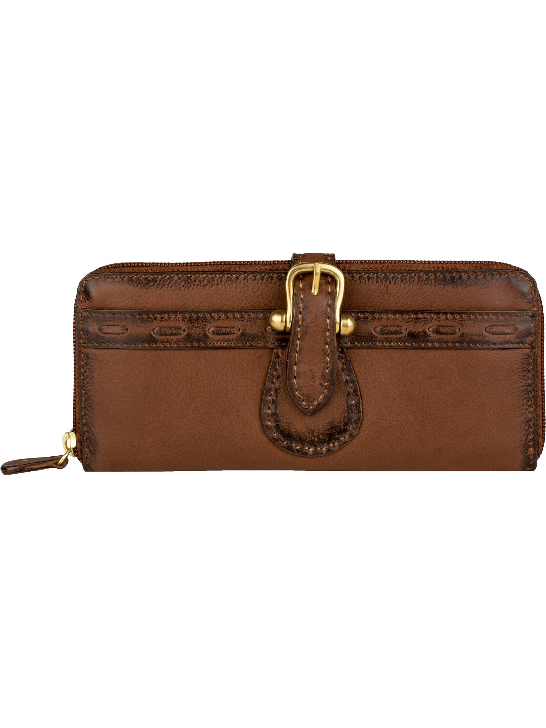 Buckle tab wallet with 3-way zip closure