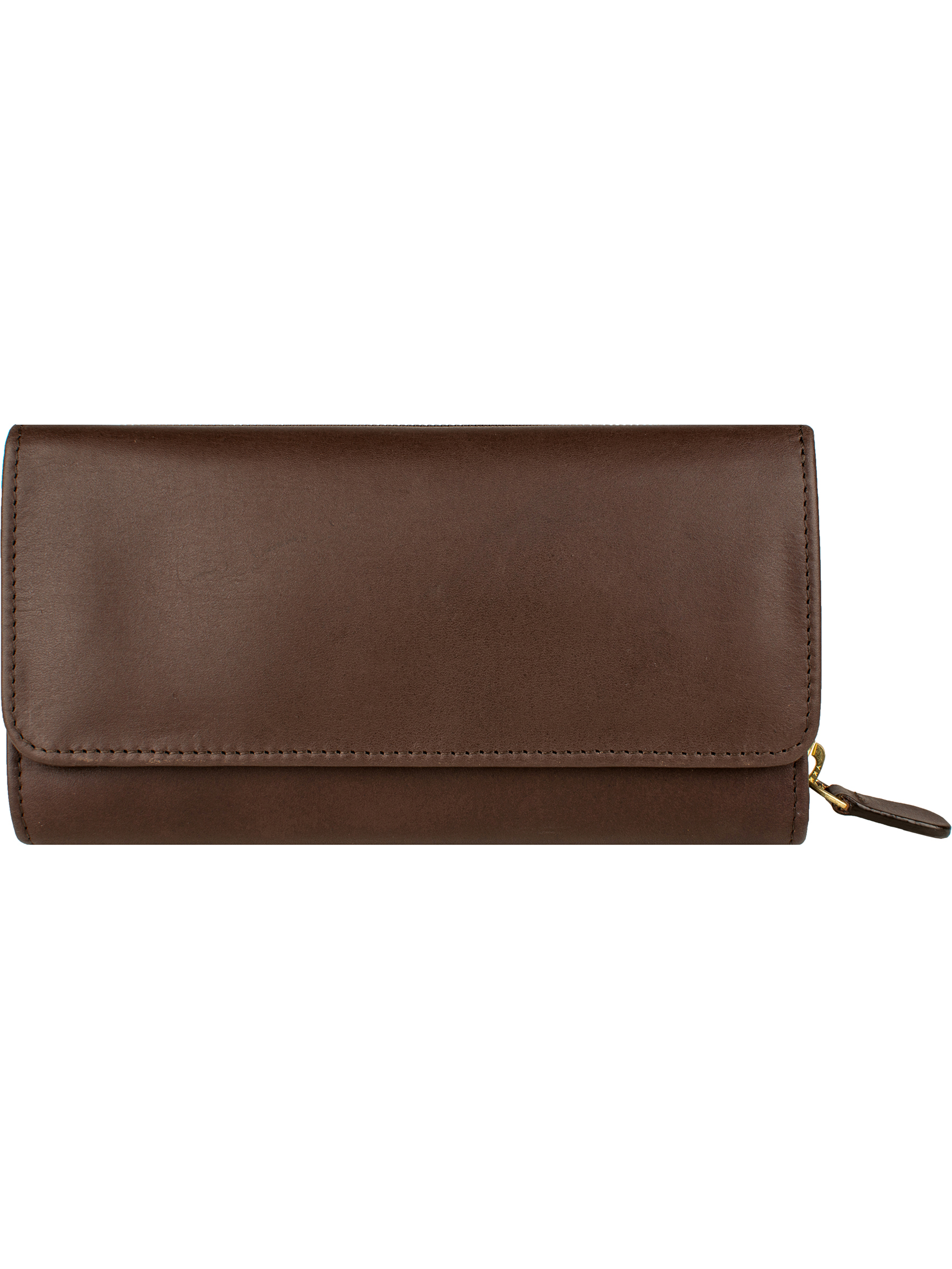 Clutch wallet with 3-way zip coin purse