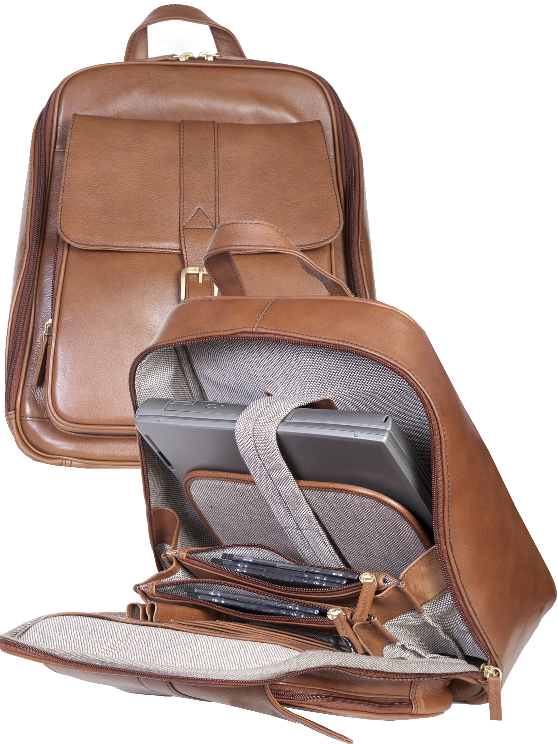 Business leather backpack
