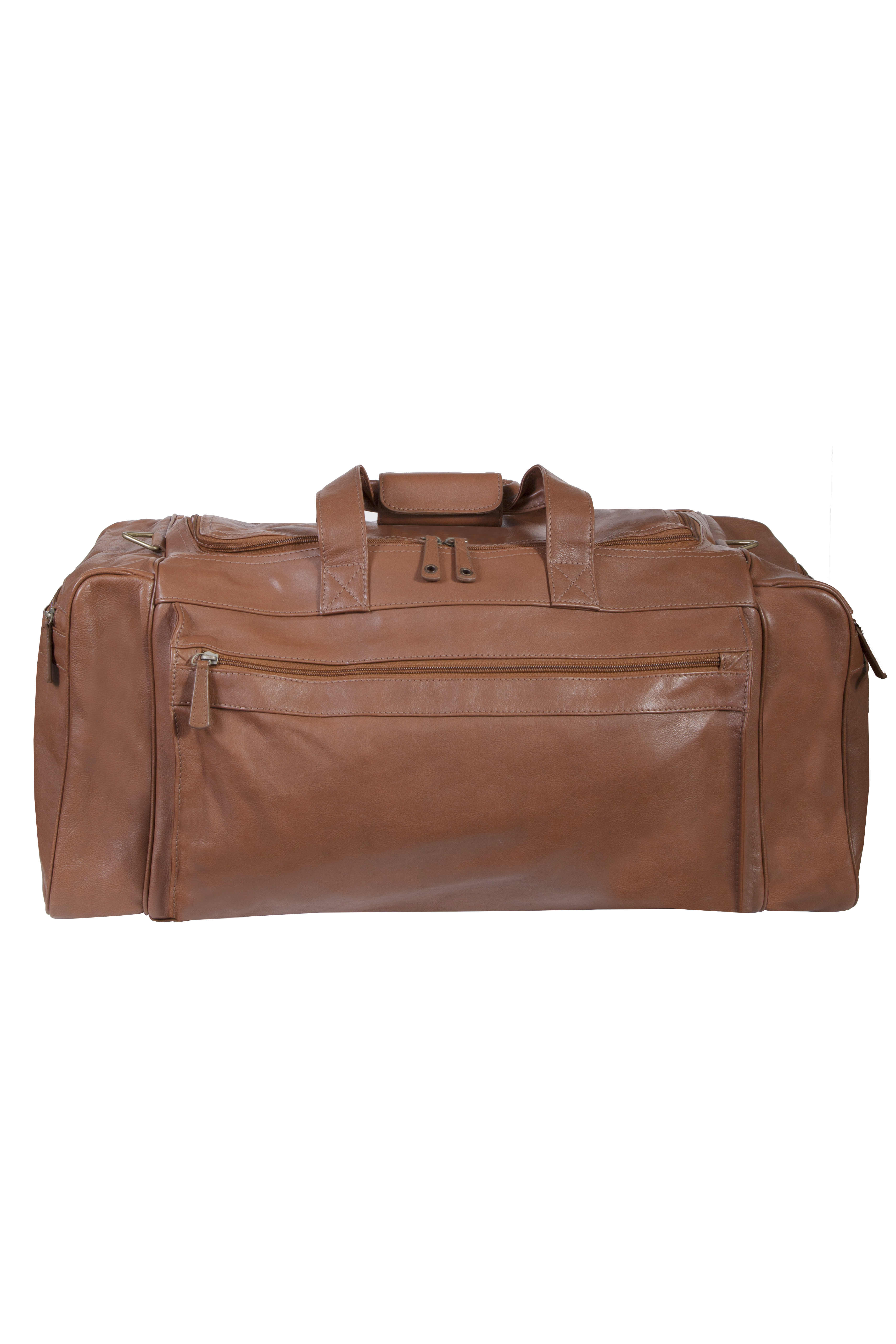 Large leather duffle bag