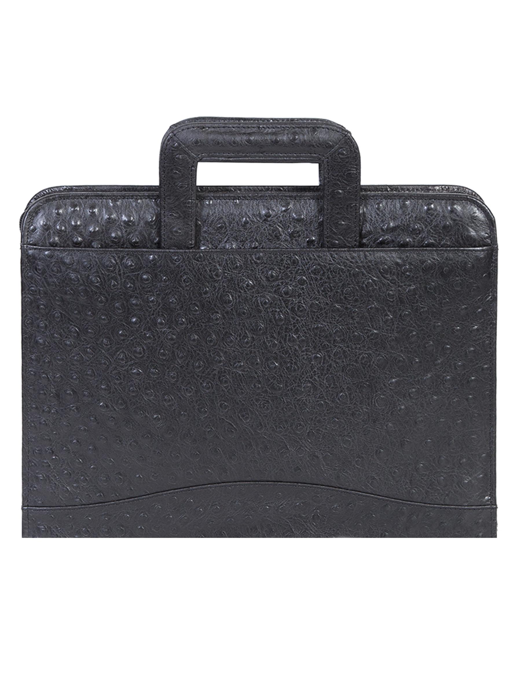 Leather 3 ring zip binder w/drop handles