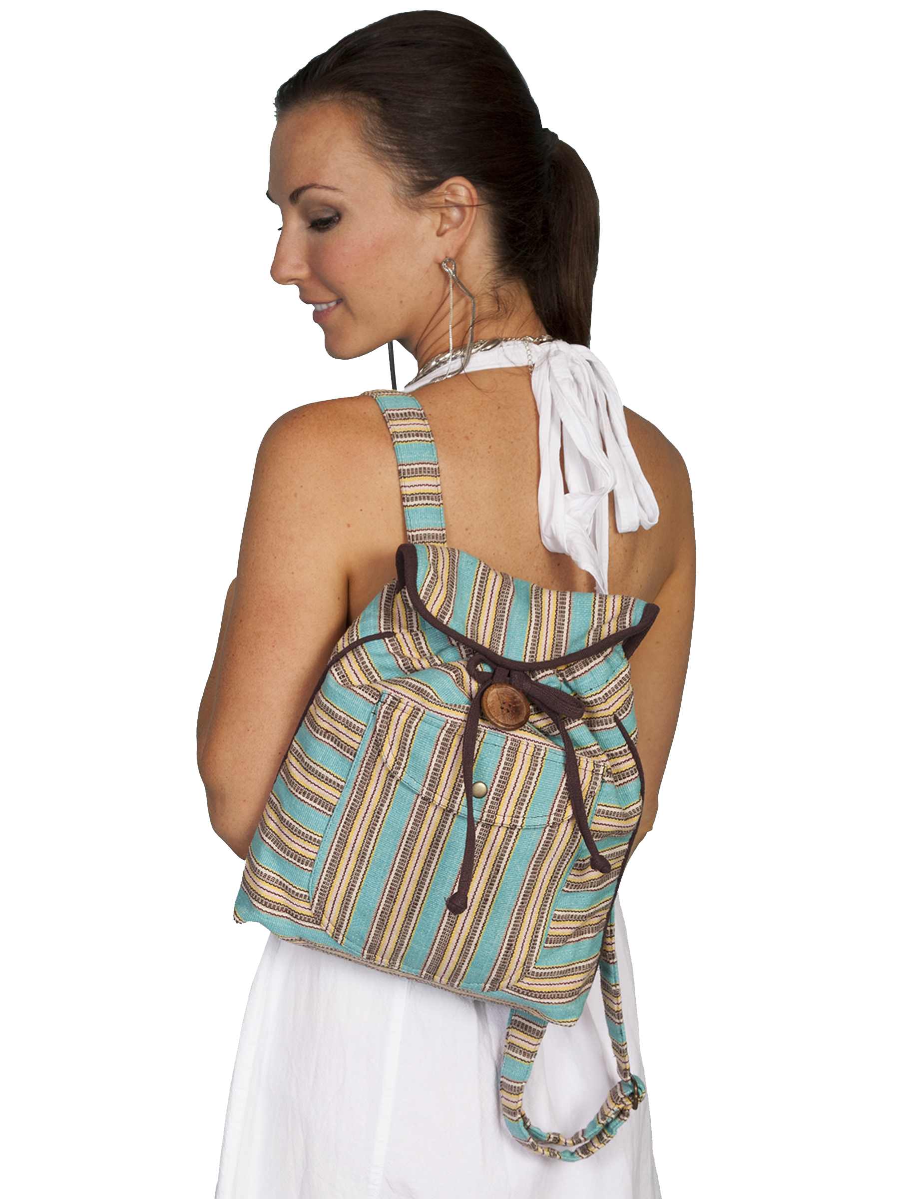 Turquoise stripe backpack with brown piping and trim