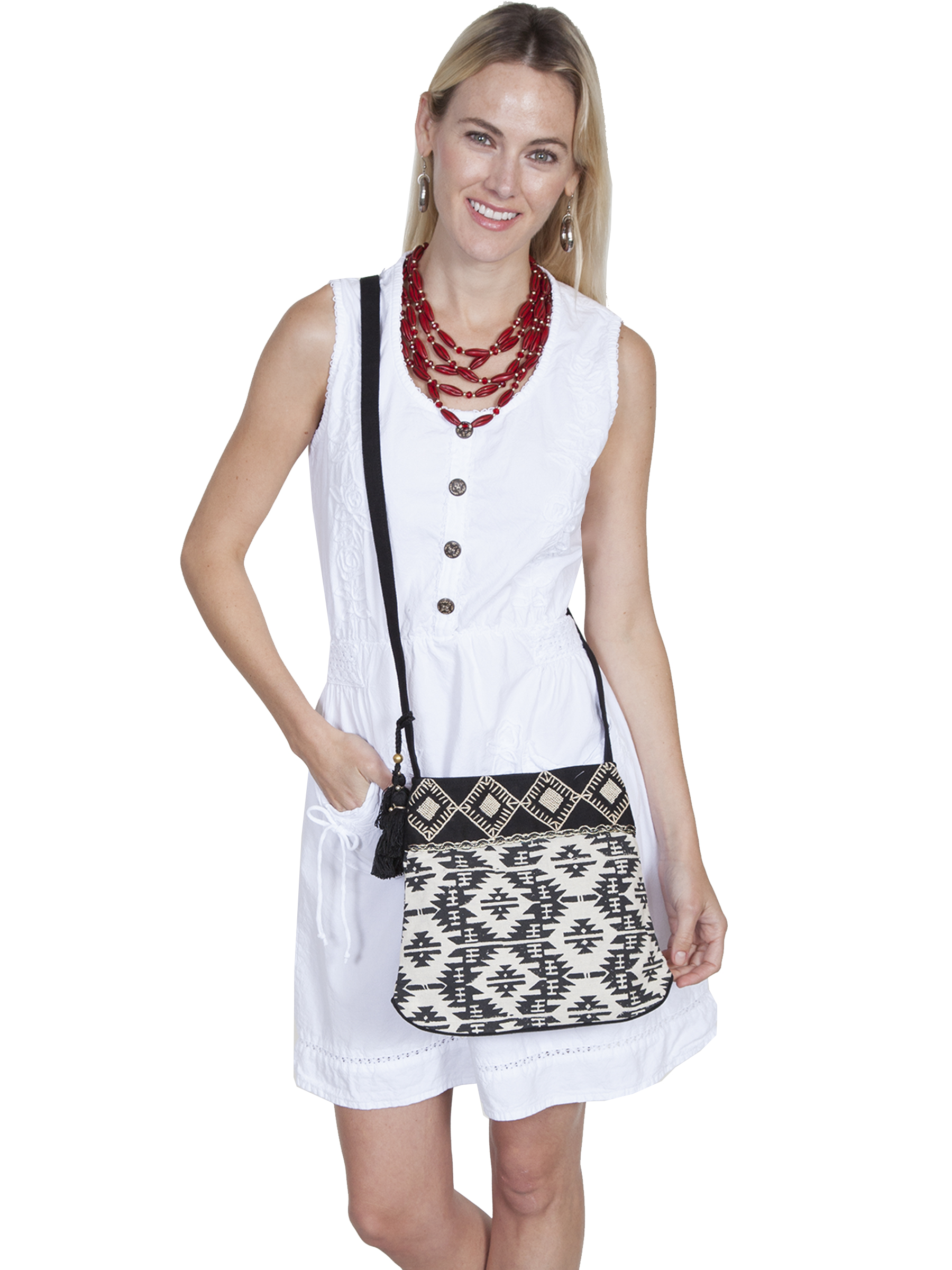 Black & white crossbody handbag with a geometric aztec print