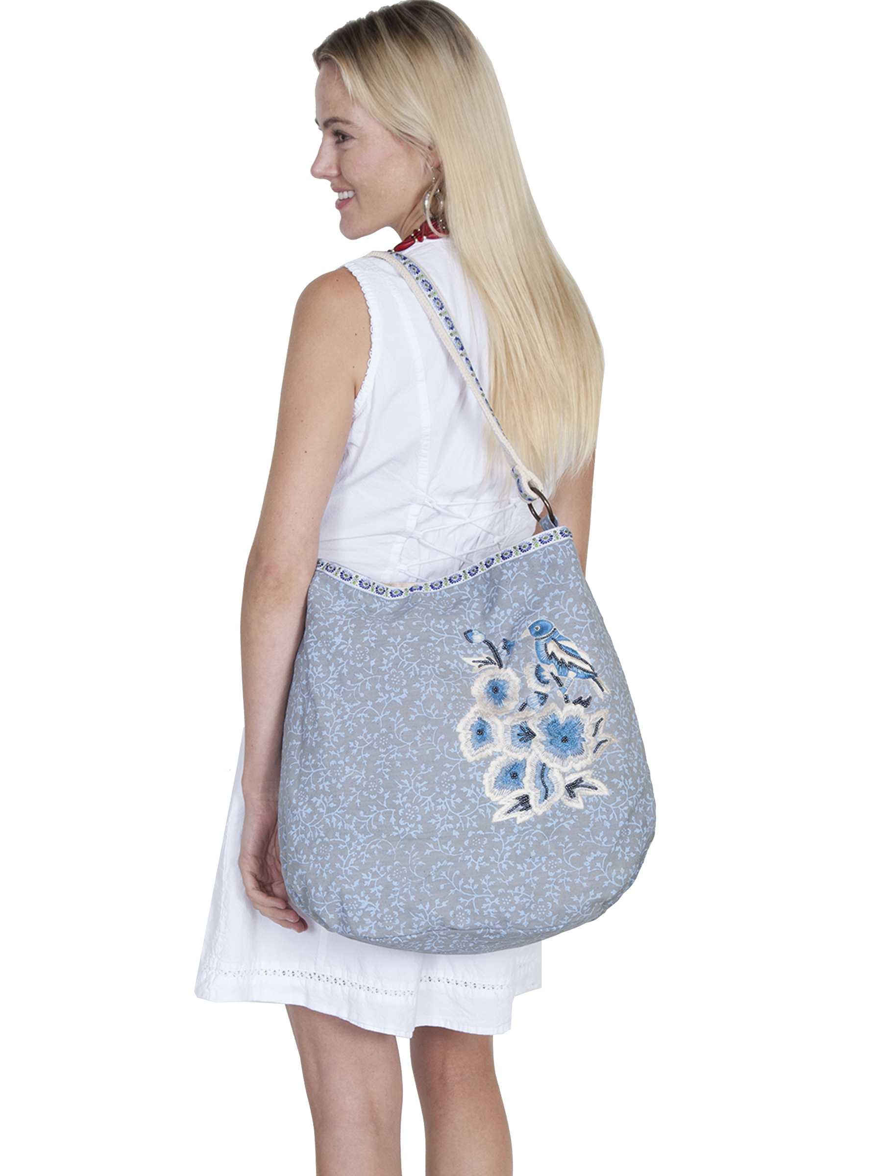 Cotton blue & grey floral print handbag