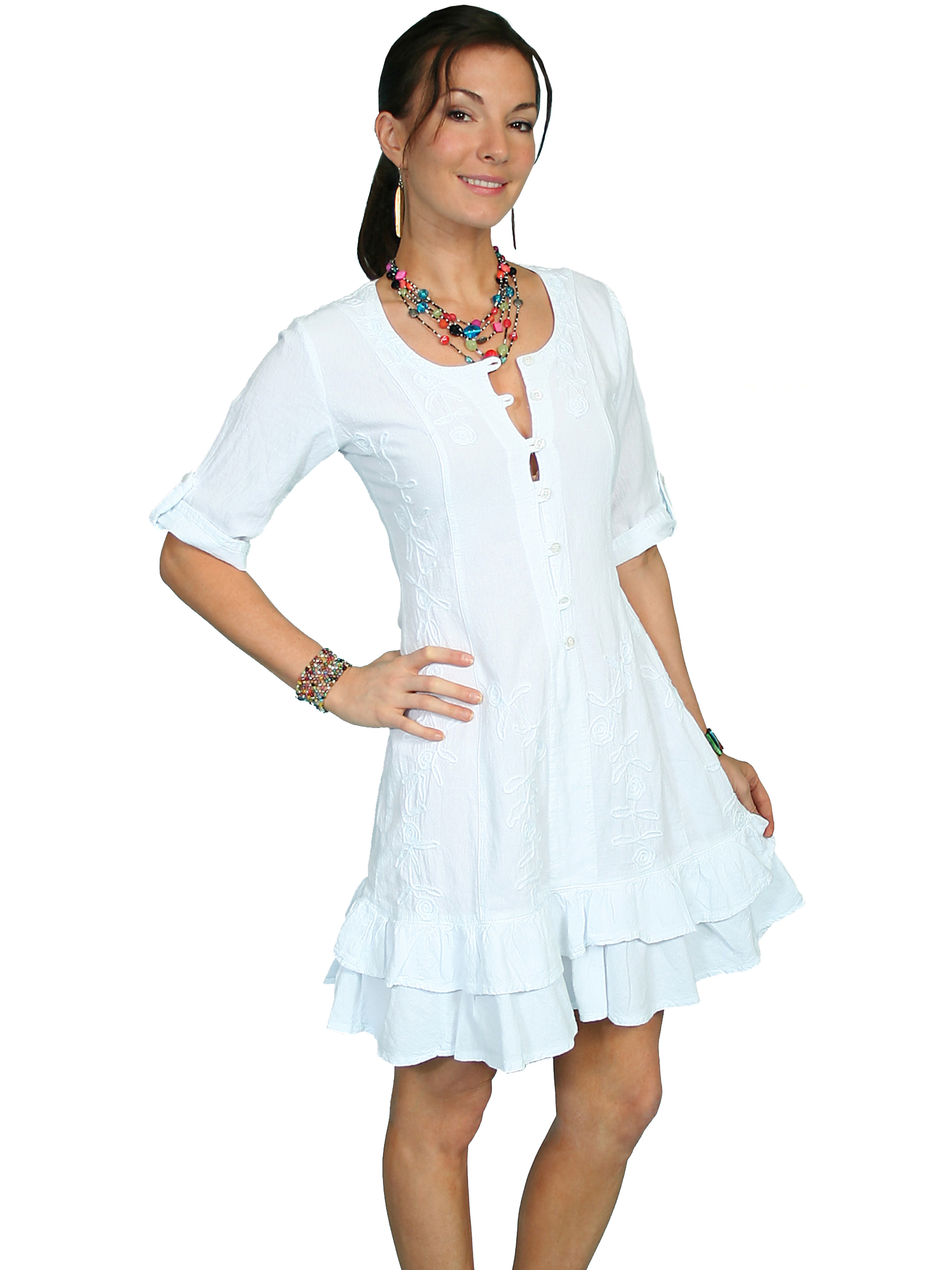100% peruvian cotton 3/4 sleeve dress