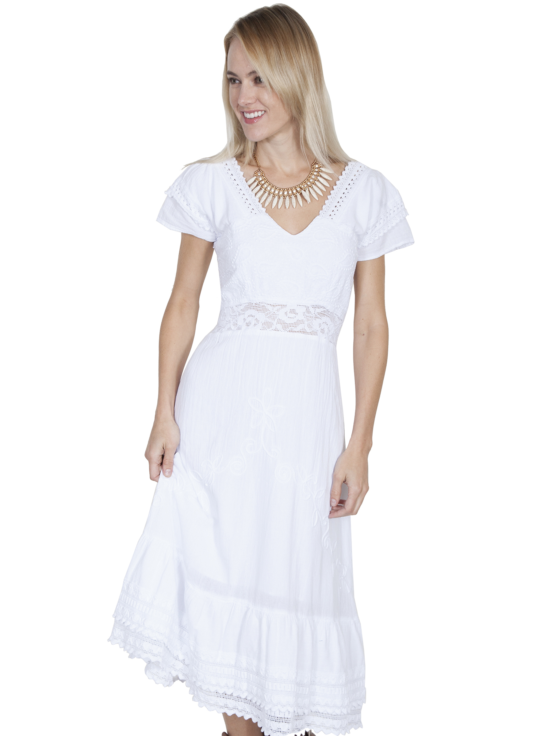 100% peruvian cotton maxi dress with double cap sleeves