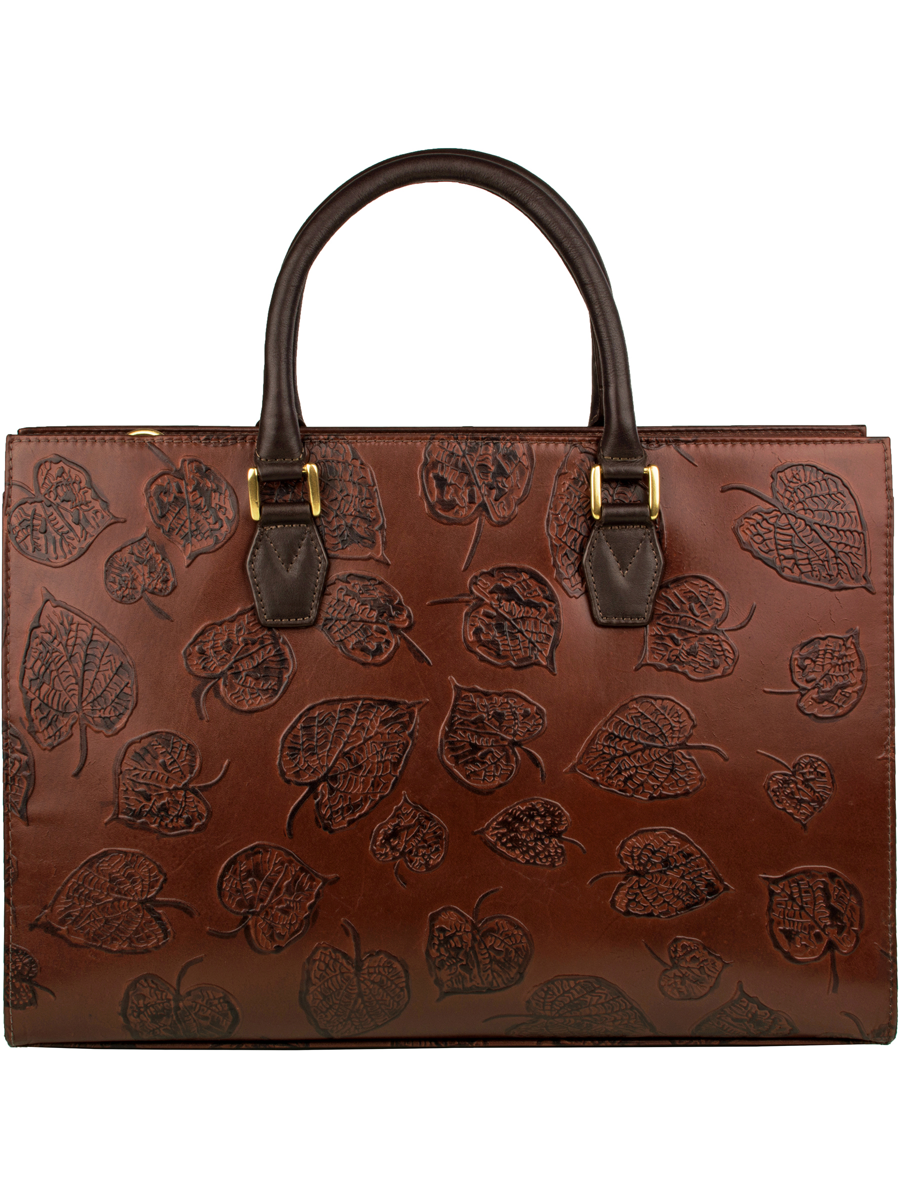 Brown embossed leather handbag