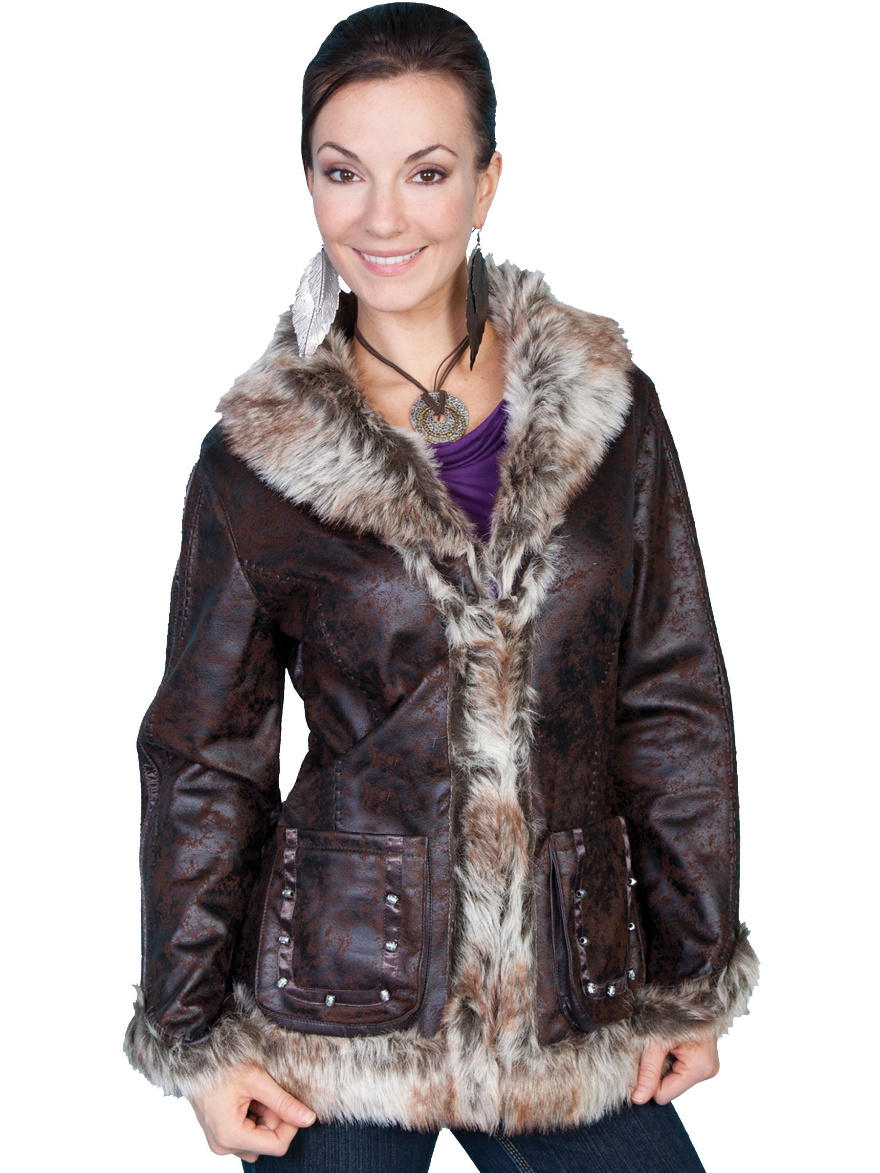 Stylish mottled faux shearling jacket