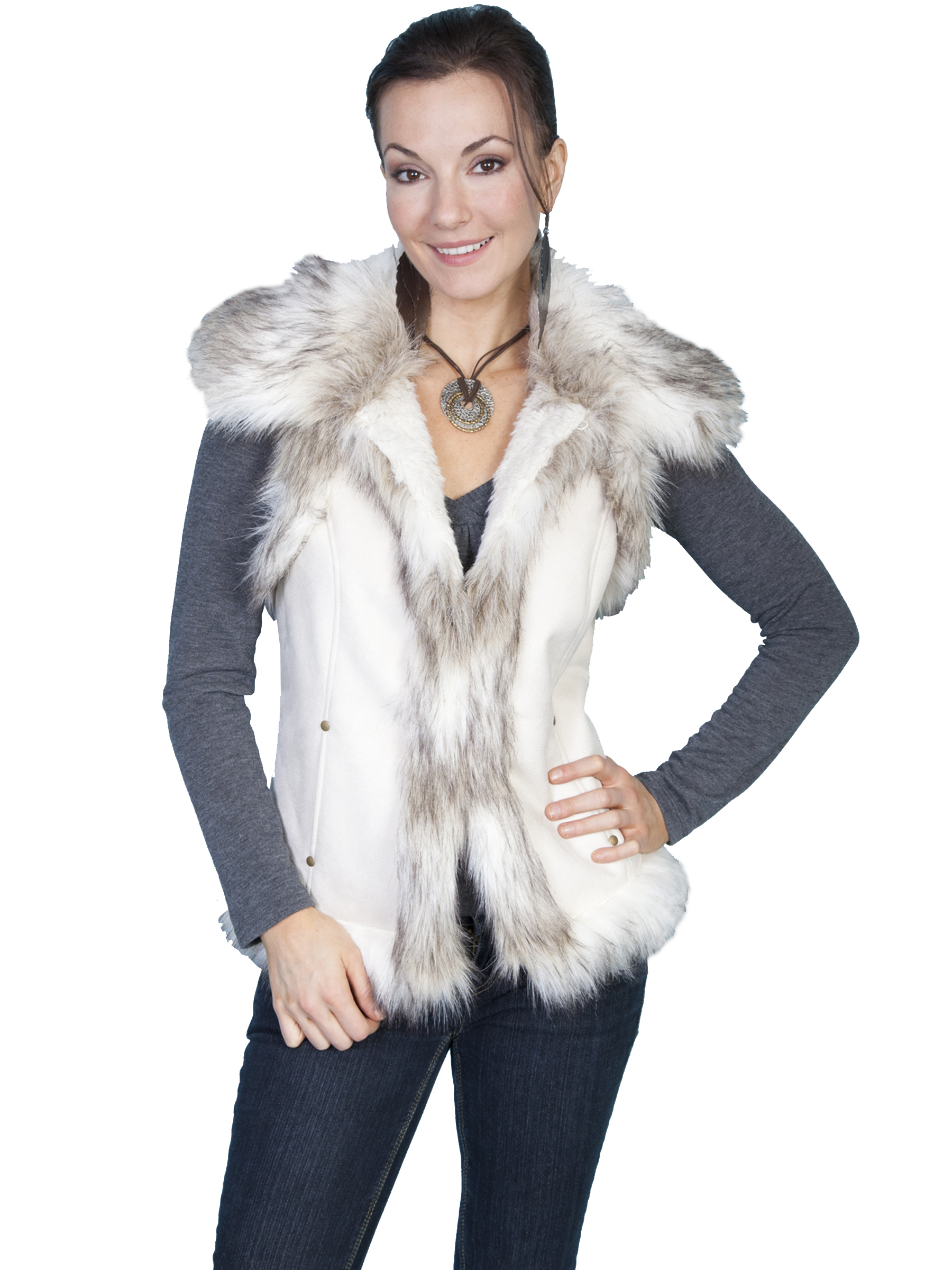 Fashionable faux fur vest
