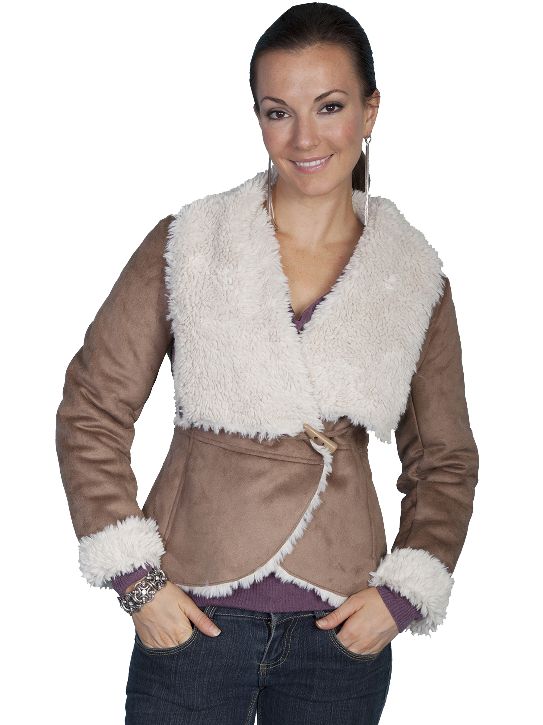 Stylish oversize faux fur collar and faux suede jacket