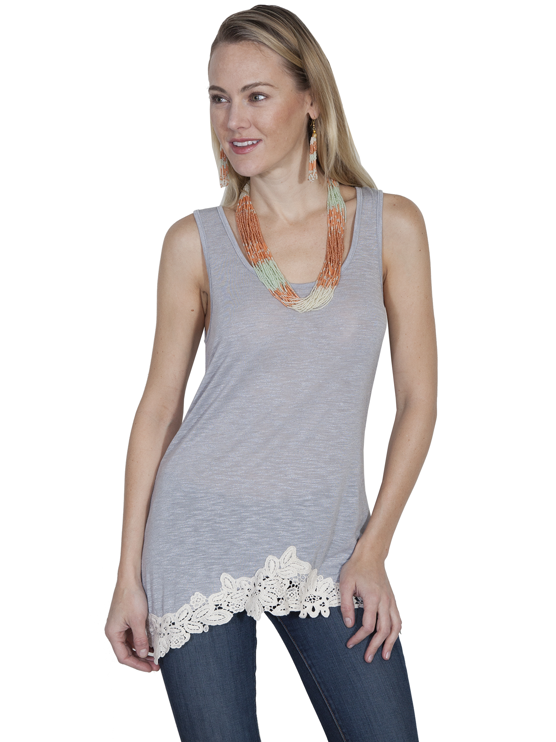 tank with a lace trim