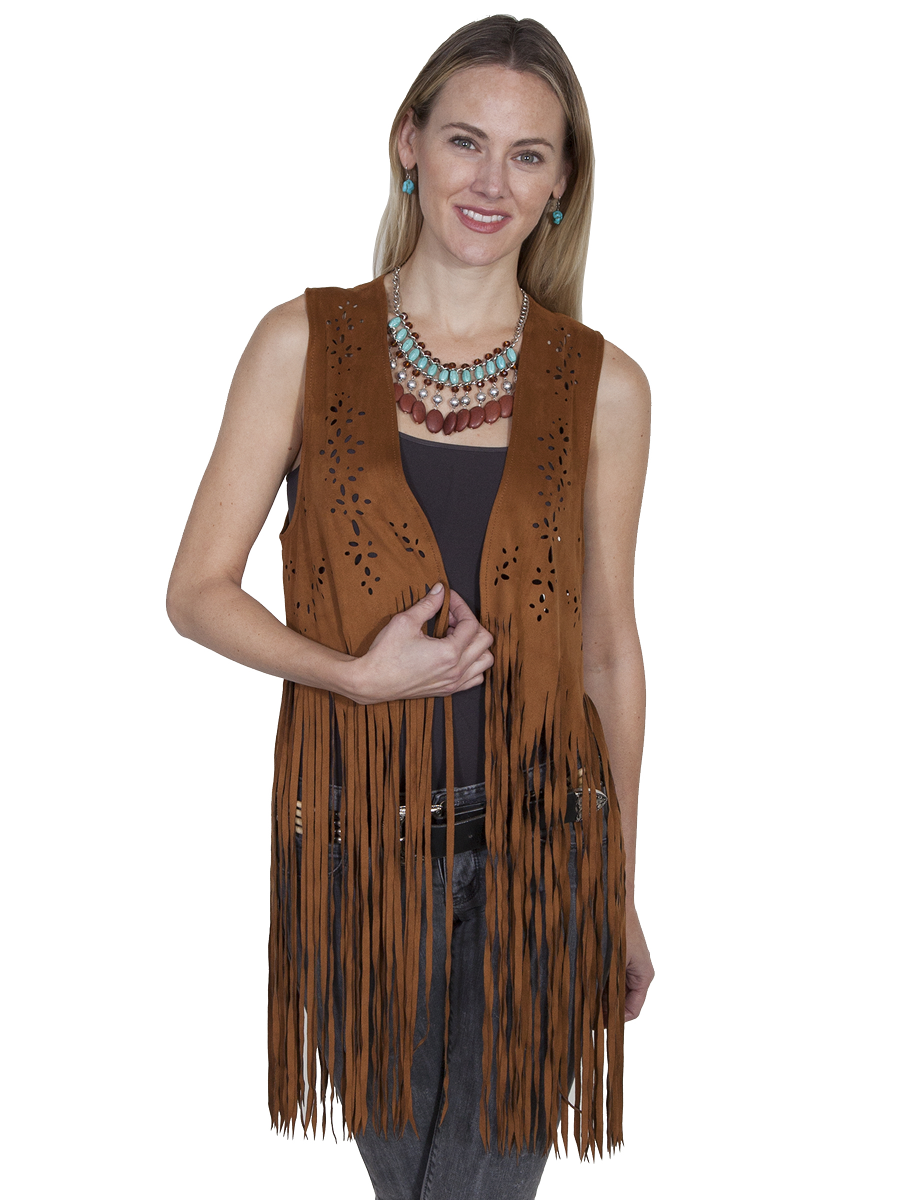 Laser cut and fringe vest