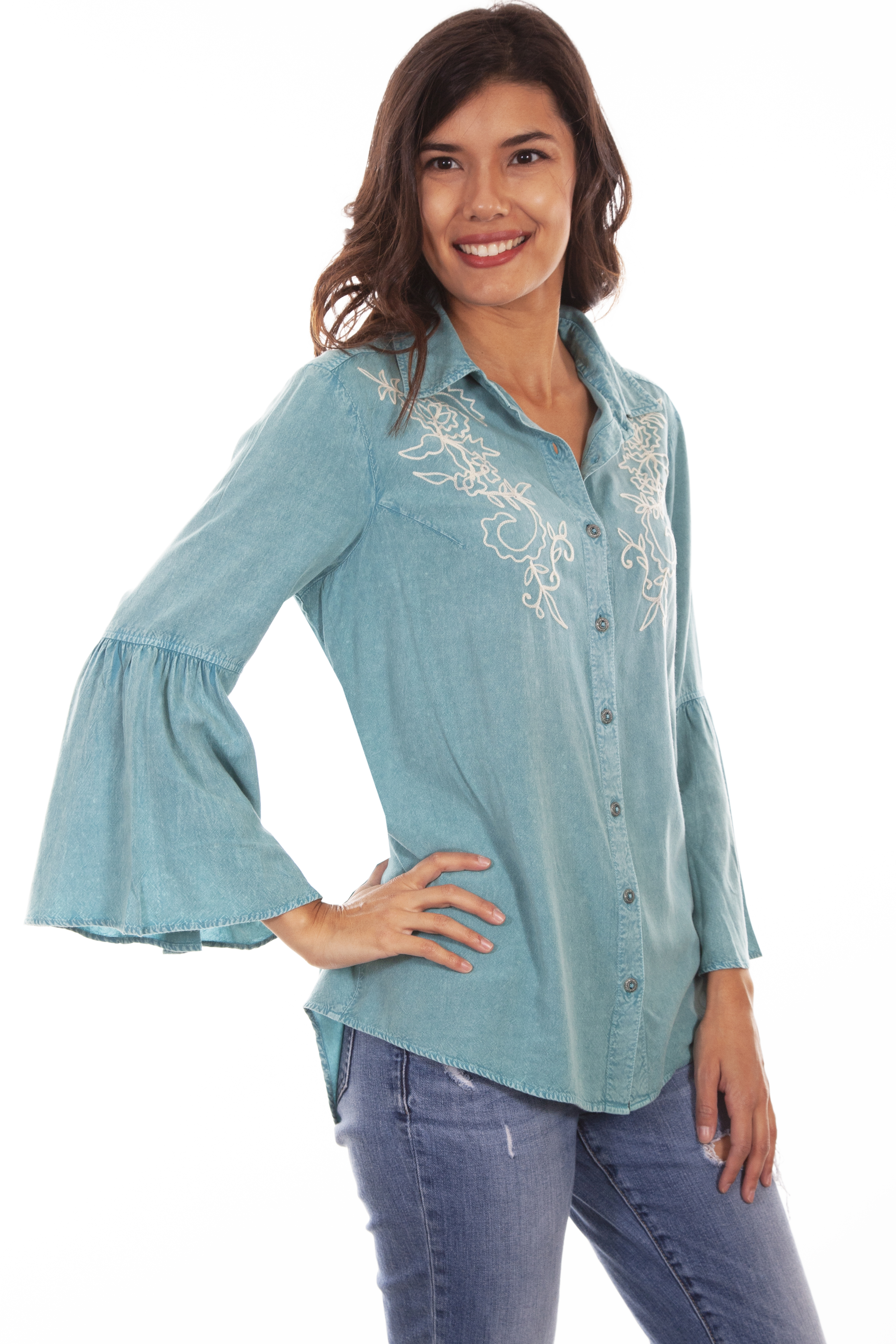 BELL SLEEVE BLOUSE W/IVORY EMB