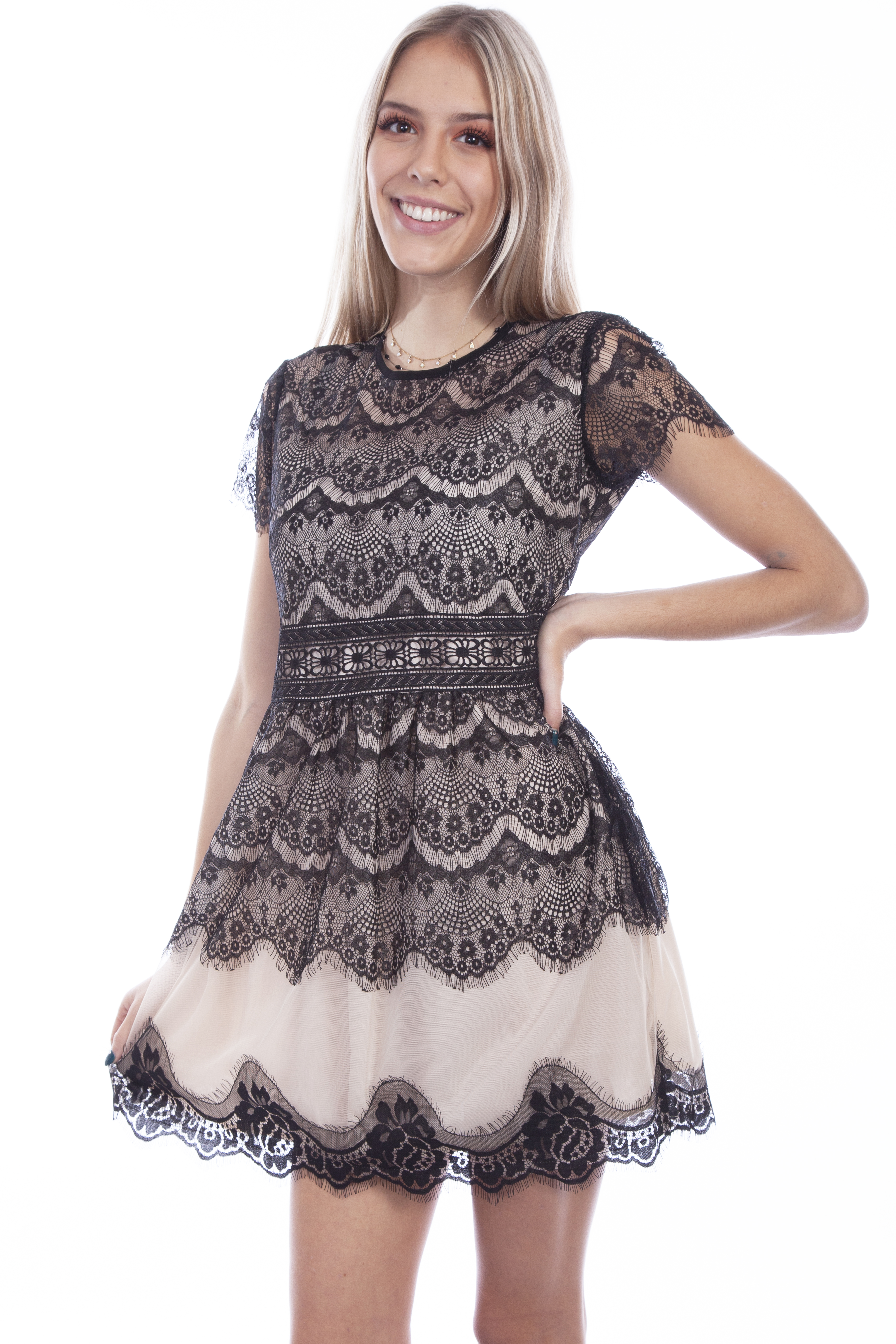 CONTRAST LINING LACE DRESS