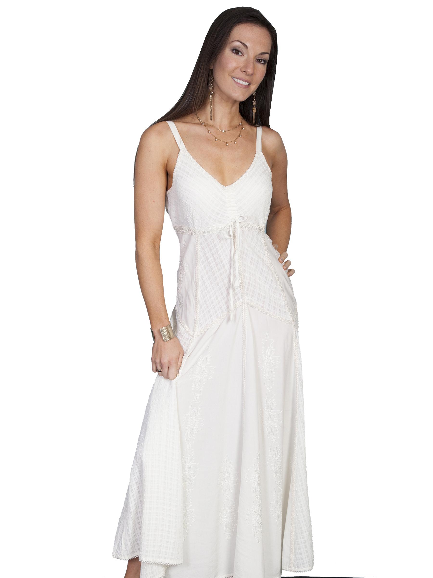 100% rayon multi-fabric long spaghetti strap dress