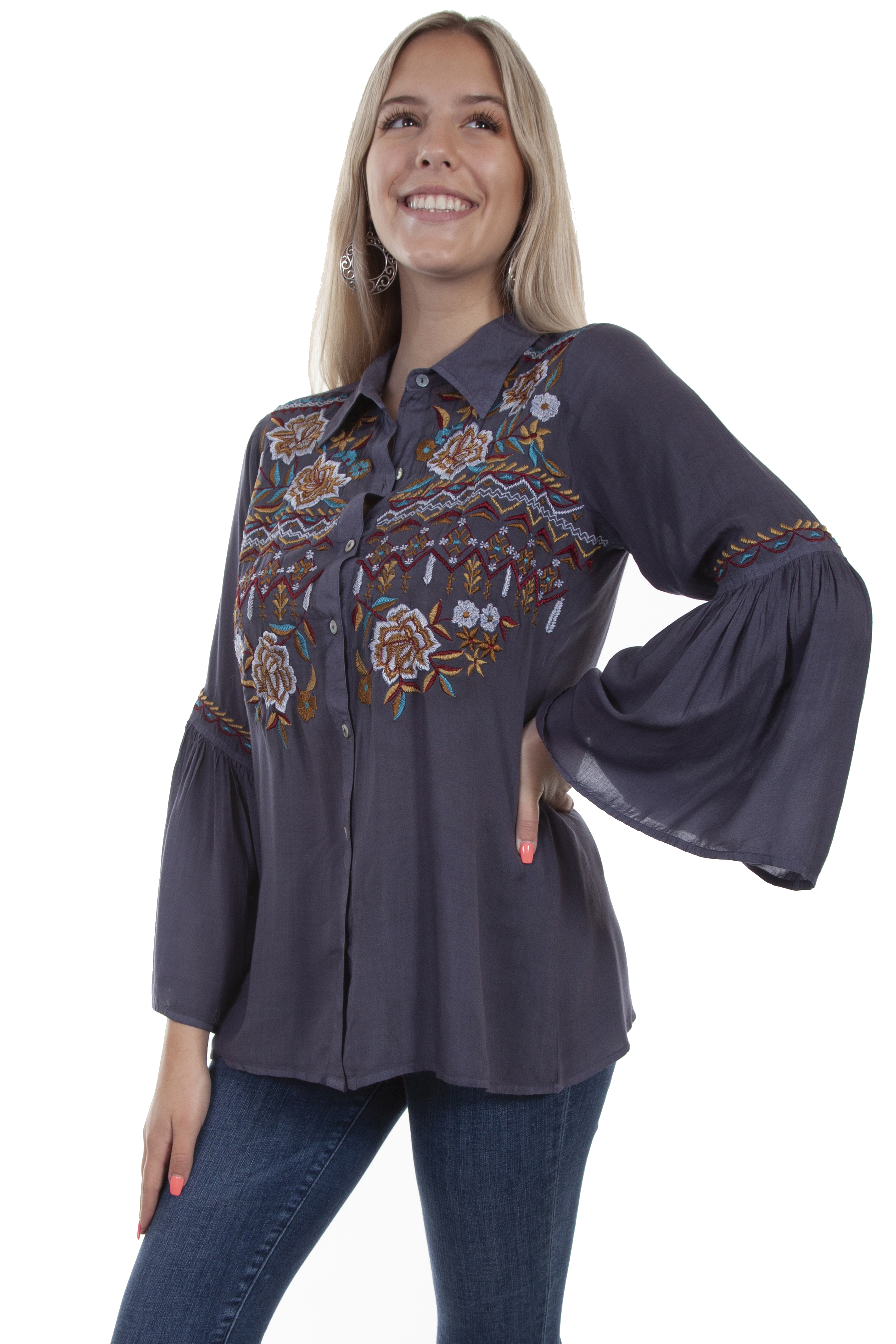 BELL SLEEVE EMB BLOUSE BUTTON FRONT