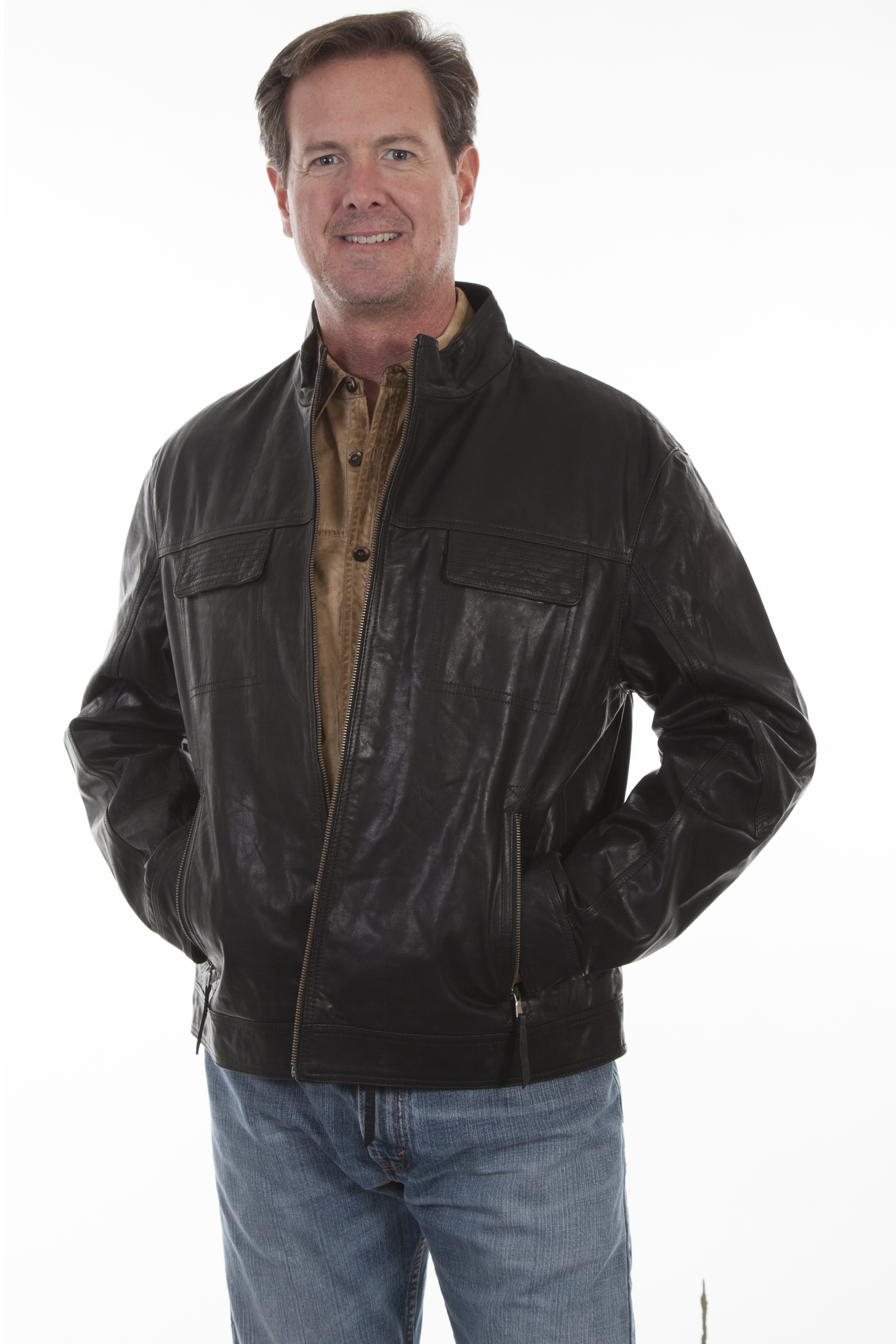 Lambskin jacket with zip front and stand-up collar