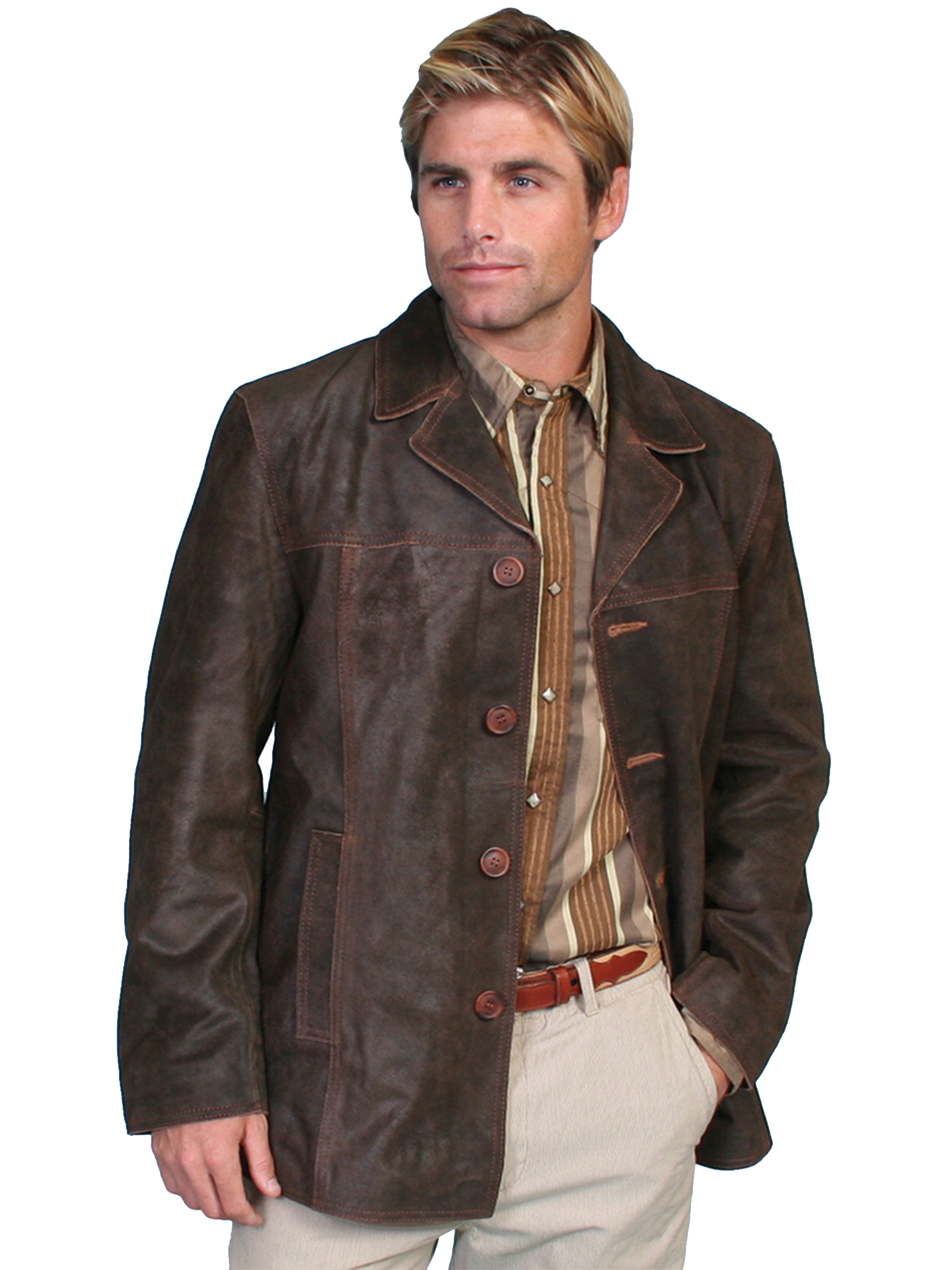 Scully Mens New 3/4 Length Brown Calf Suede Leather Vintage Jacket
