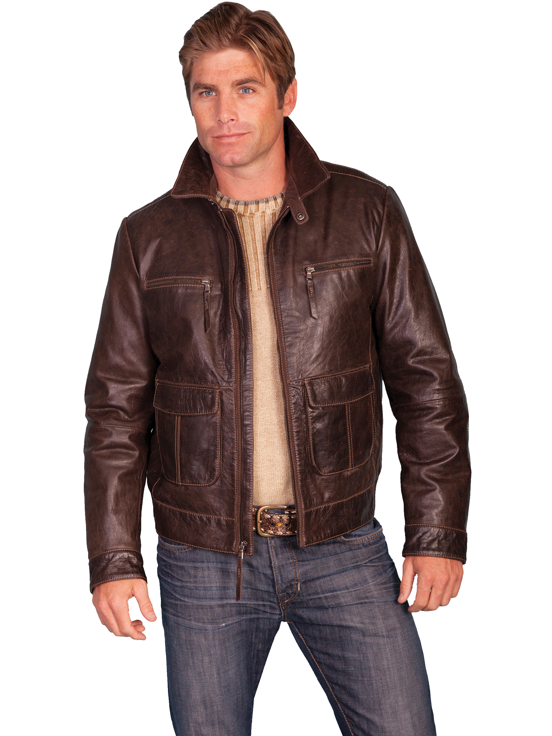 Scully ZIP FRONT FOUR POCKET LEATHER JACKET-Brown