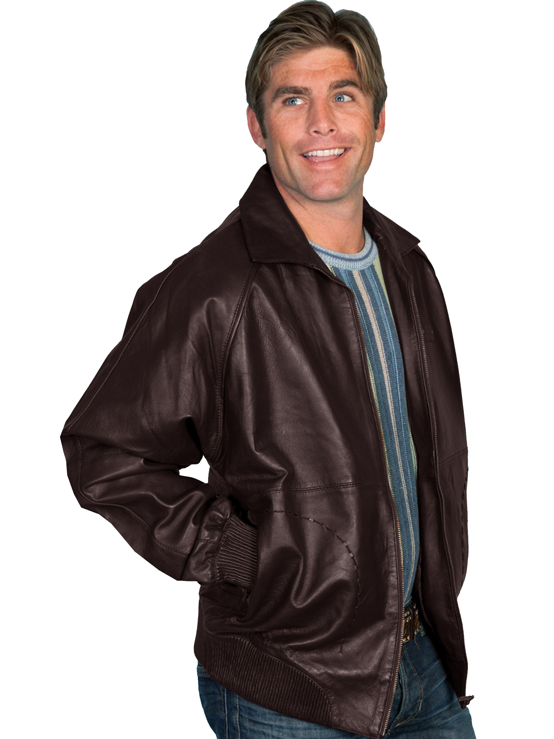 Scully Mens Zip Front Lamb Jacket Xlarge Brown