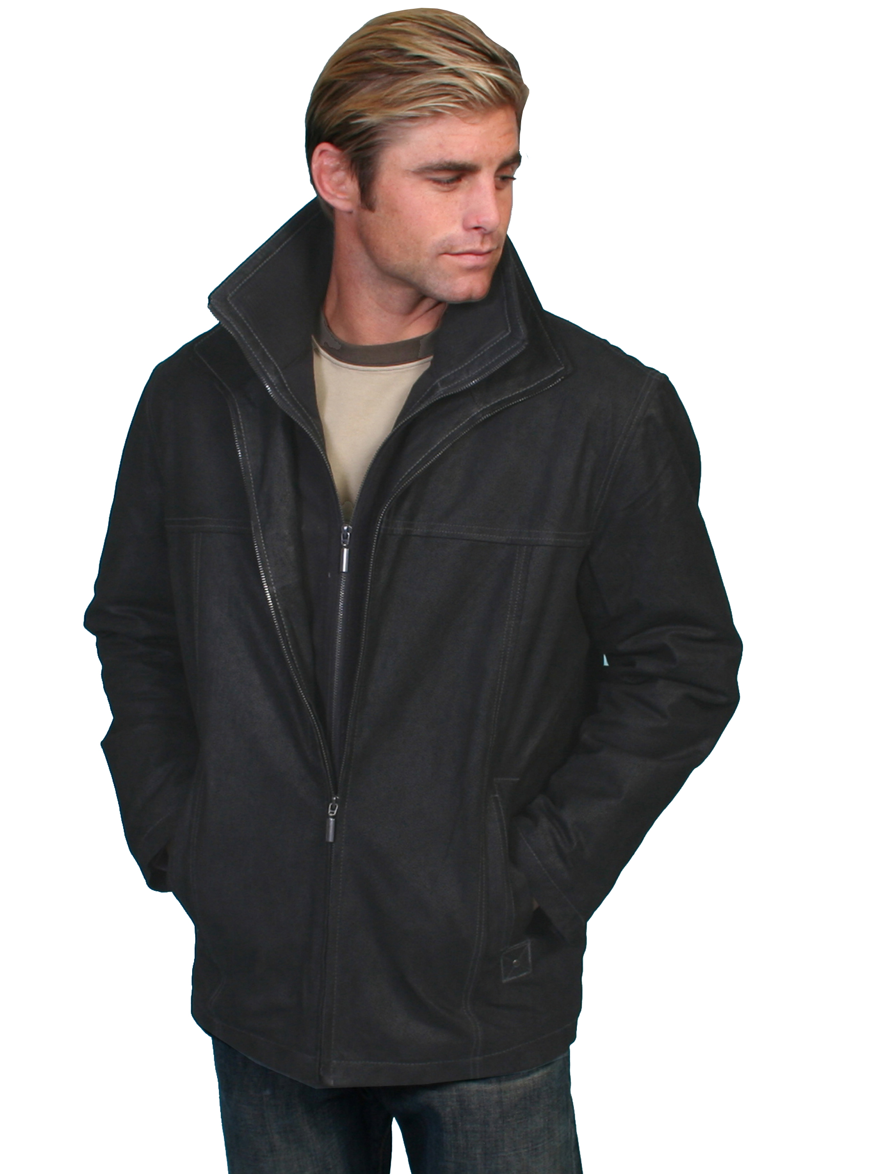 Vintage black premium leather car coat