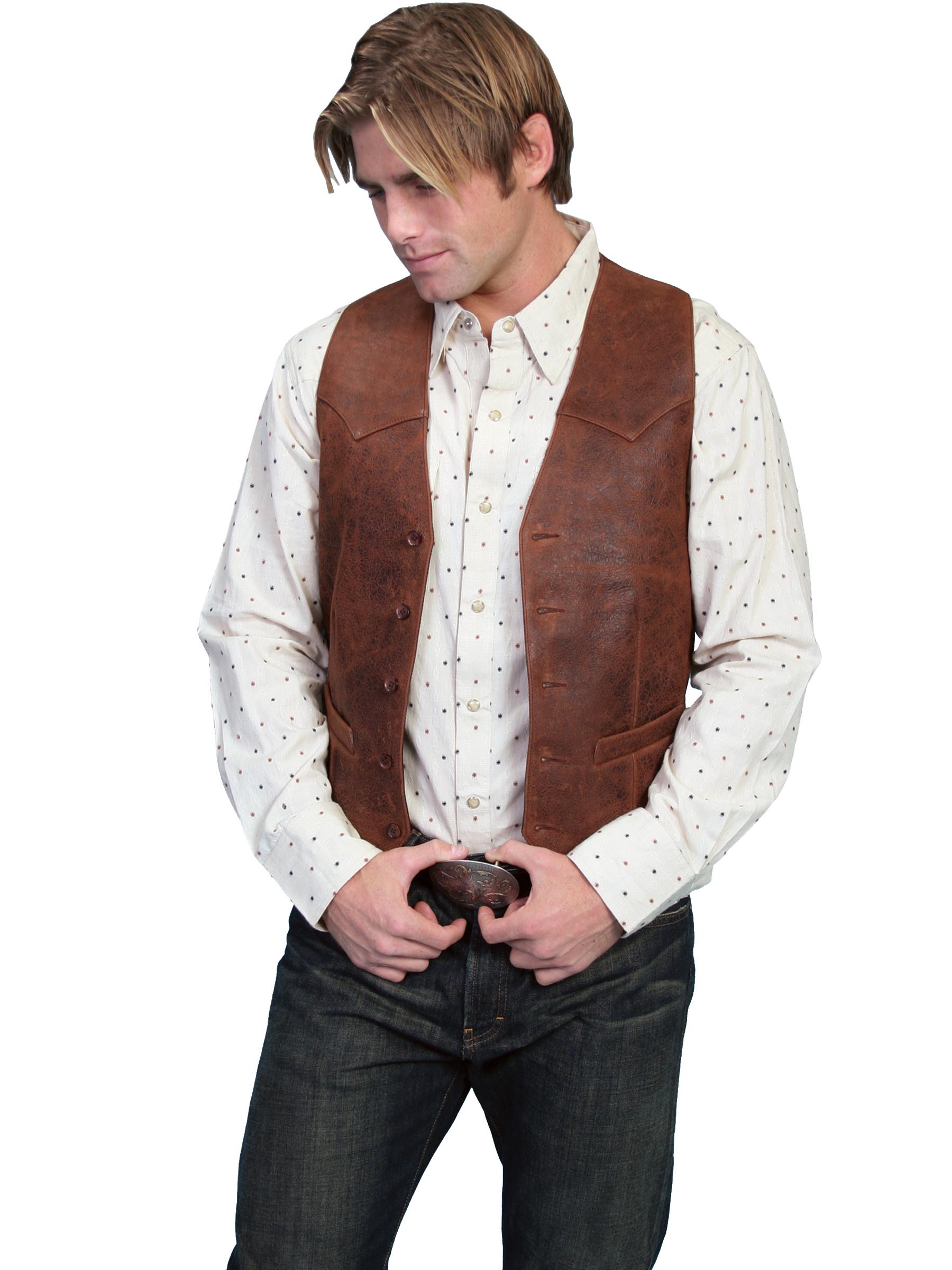 Lambskin button front vest