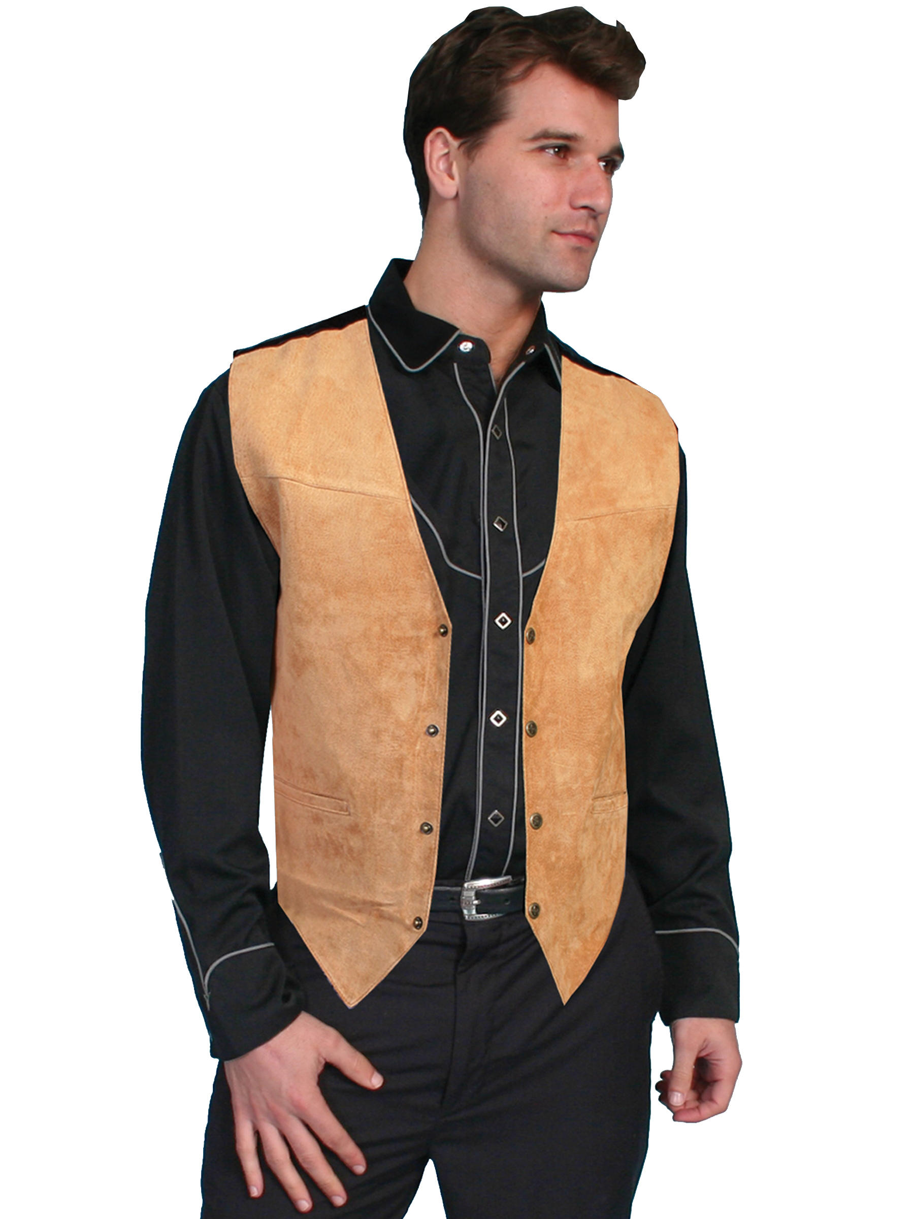 Boar suede snap front vest