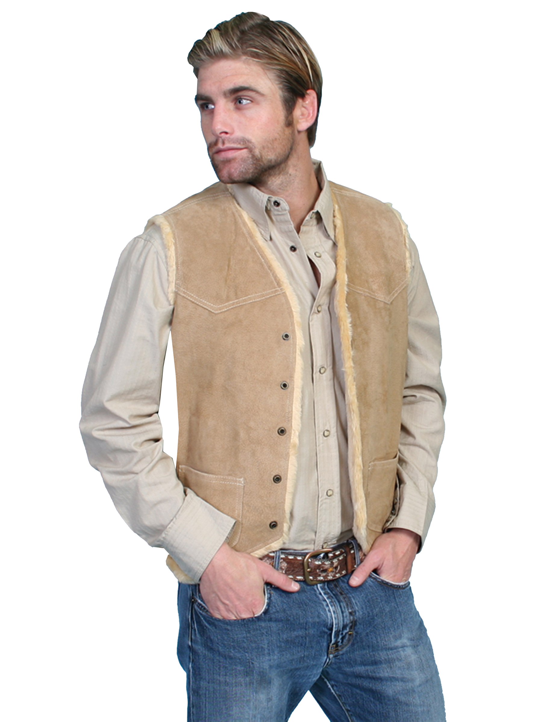 Boar suede hunting vest with faux shearling lining