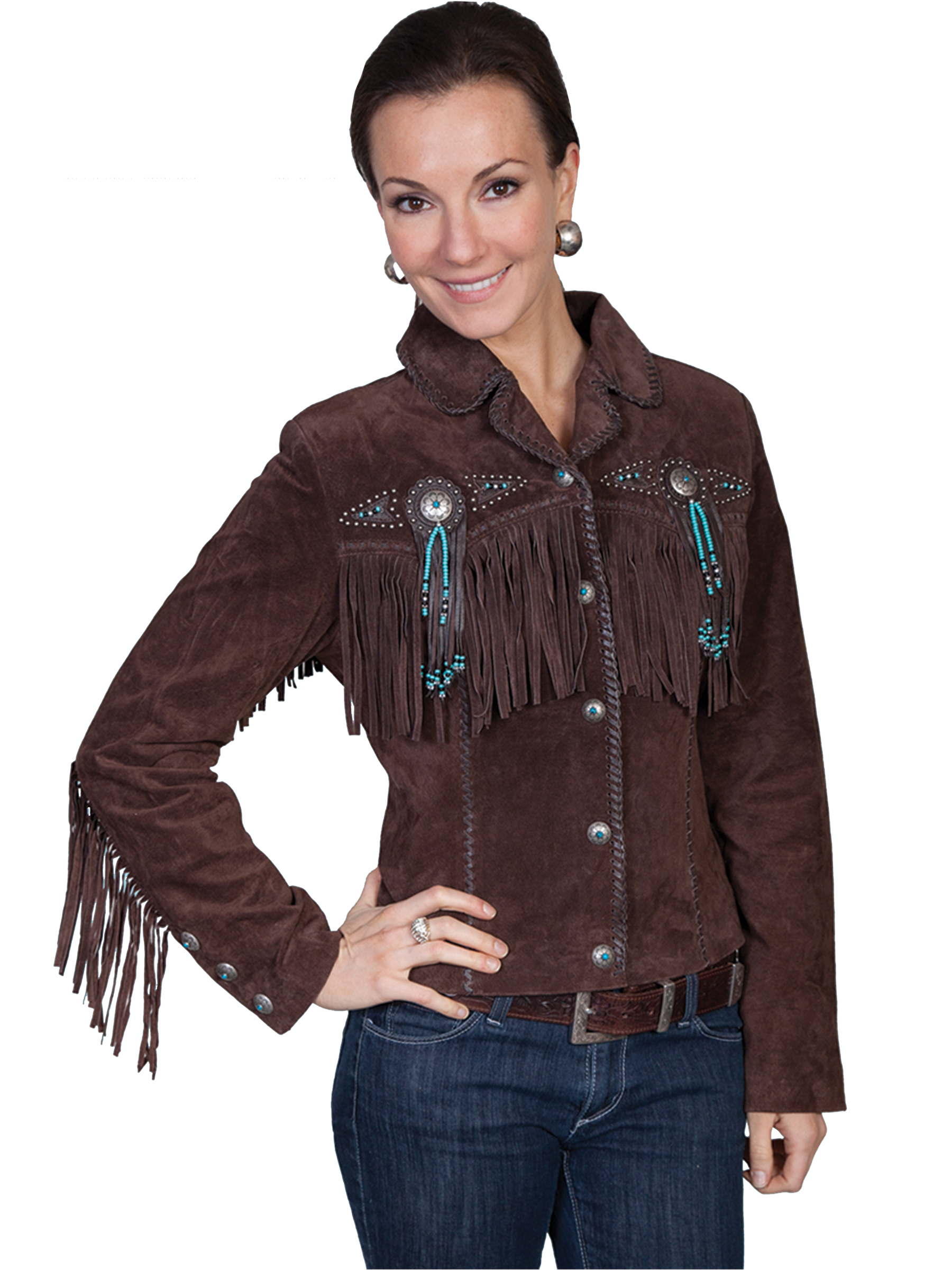 Scully Womens Lined Fringe Suede Leather Vintage Jacket w Conchos Amp