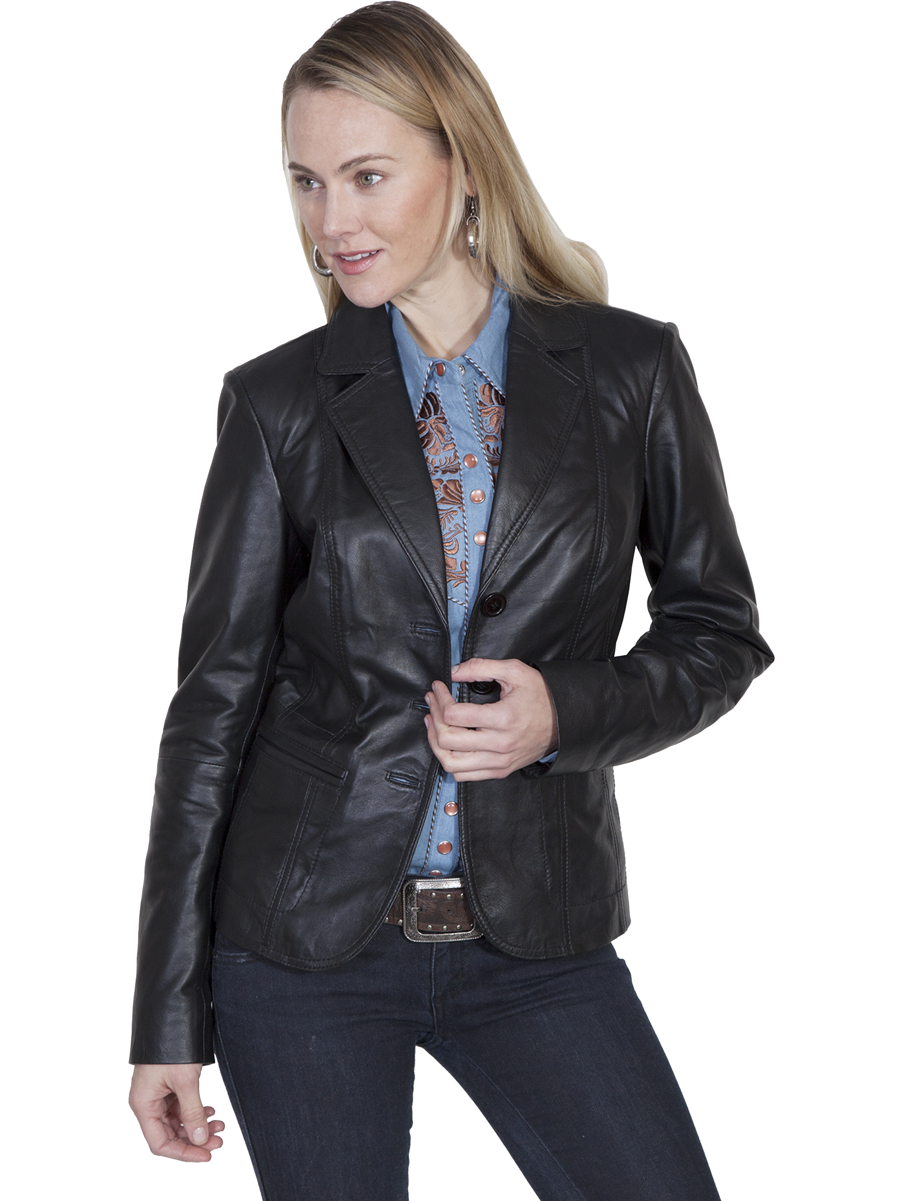 Black leather blazer