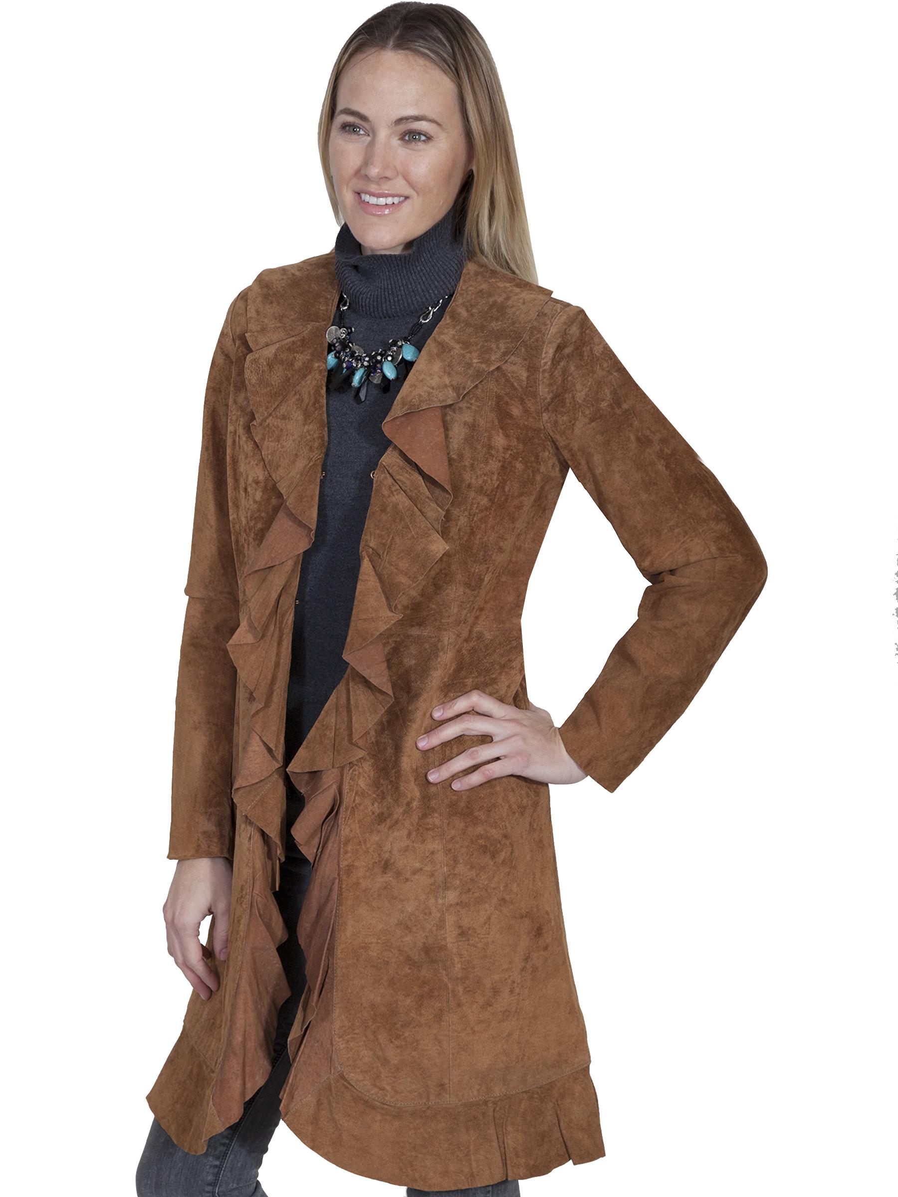 Boar suede ruffle coat