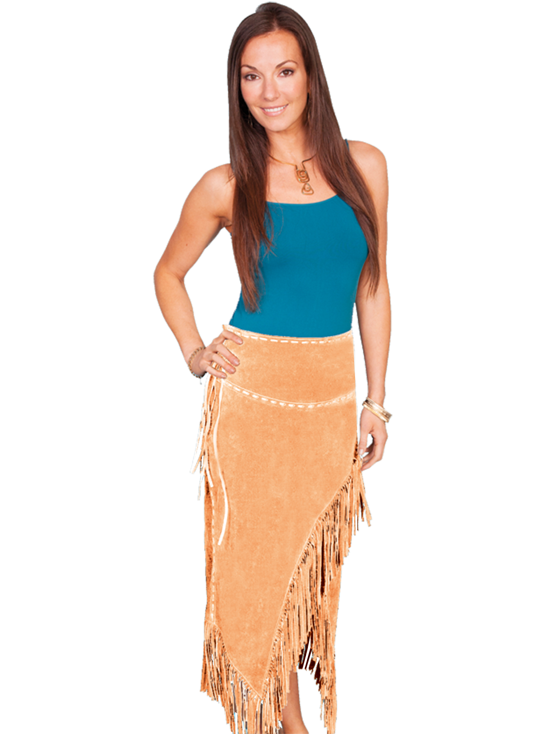 Long suede fringe skirt