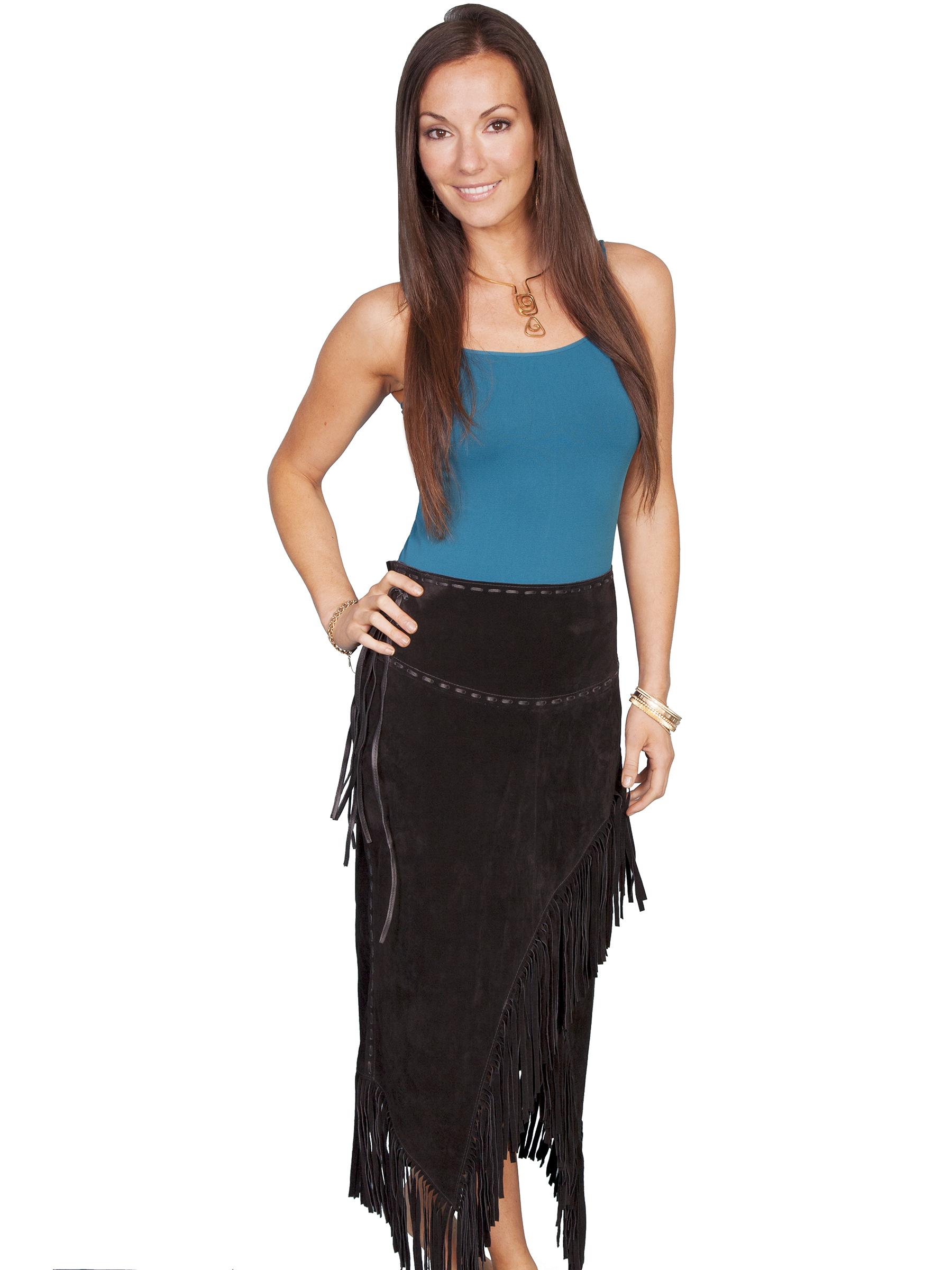 Long suede fringe skirt