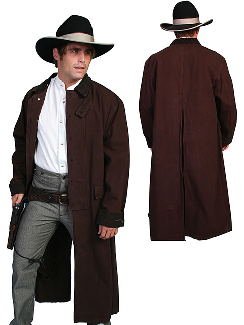 MEN'S WESTERN OLD WEST COWBOY SCULLY LONG DUSTER COAT BLACK ...