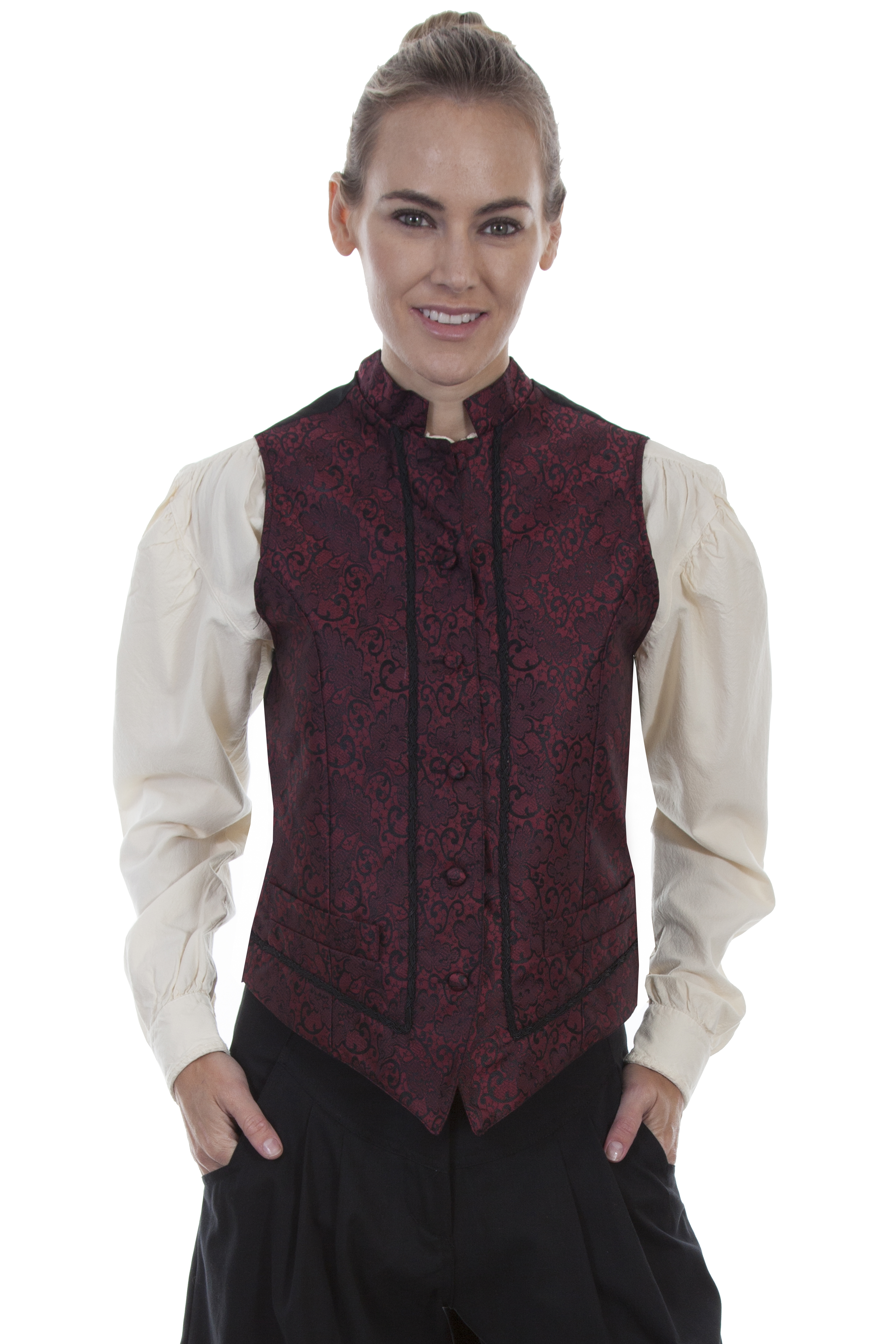 BAND COLLAR VEST W/RICK-RACK FRONT