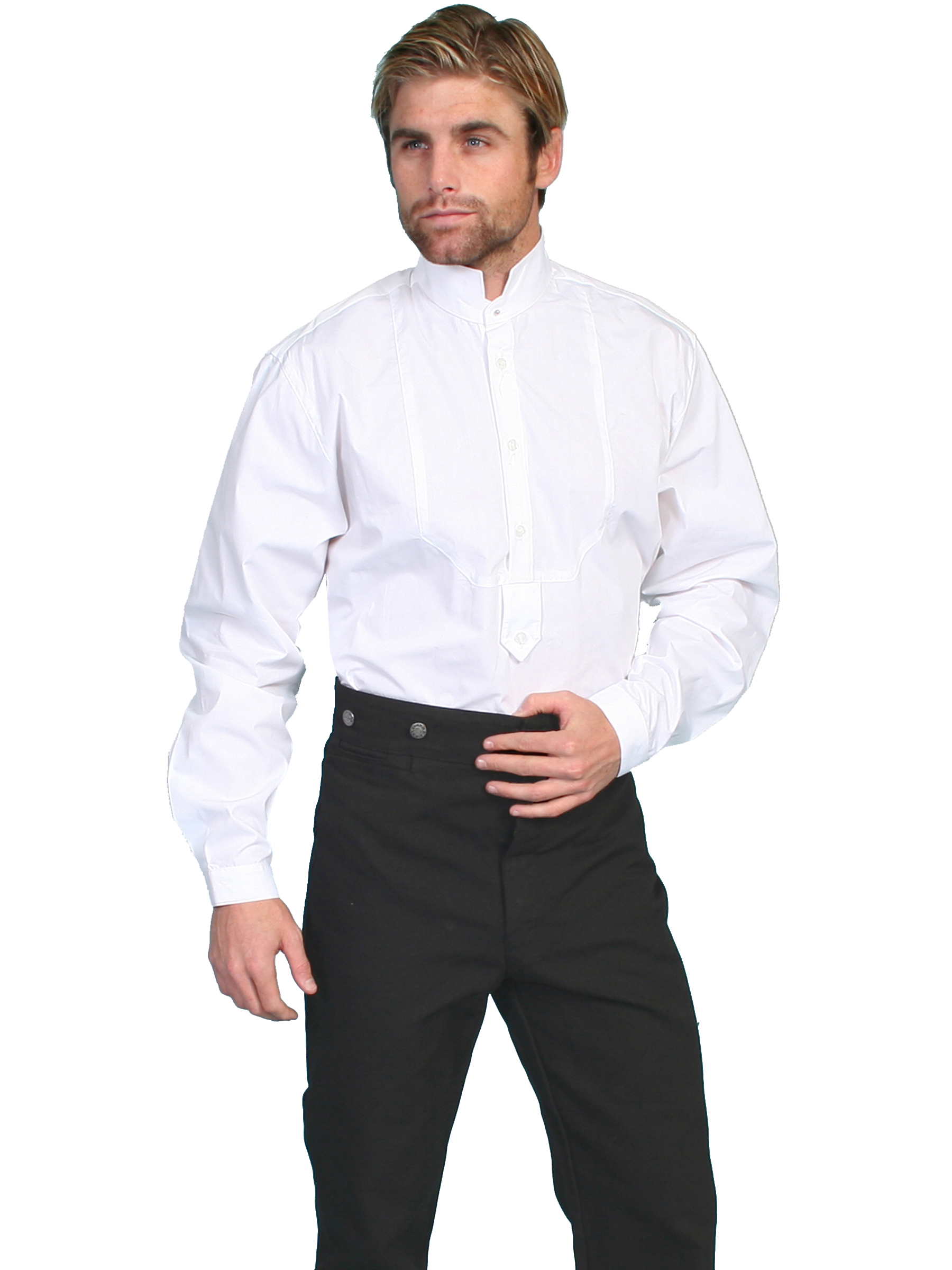 Classic shirt with stand-up collar and inset bib