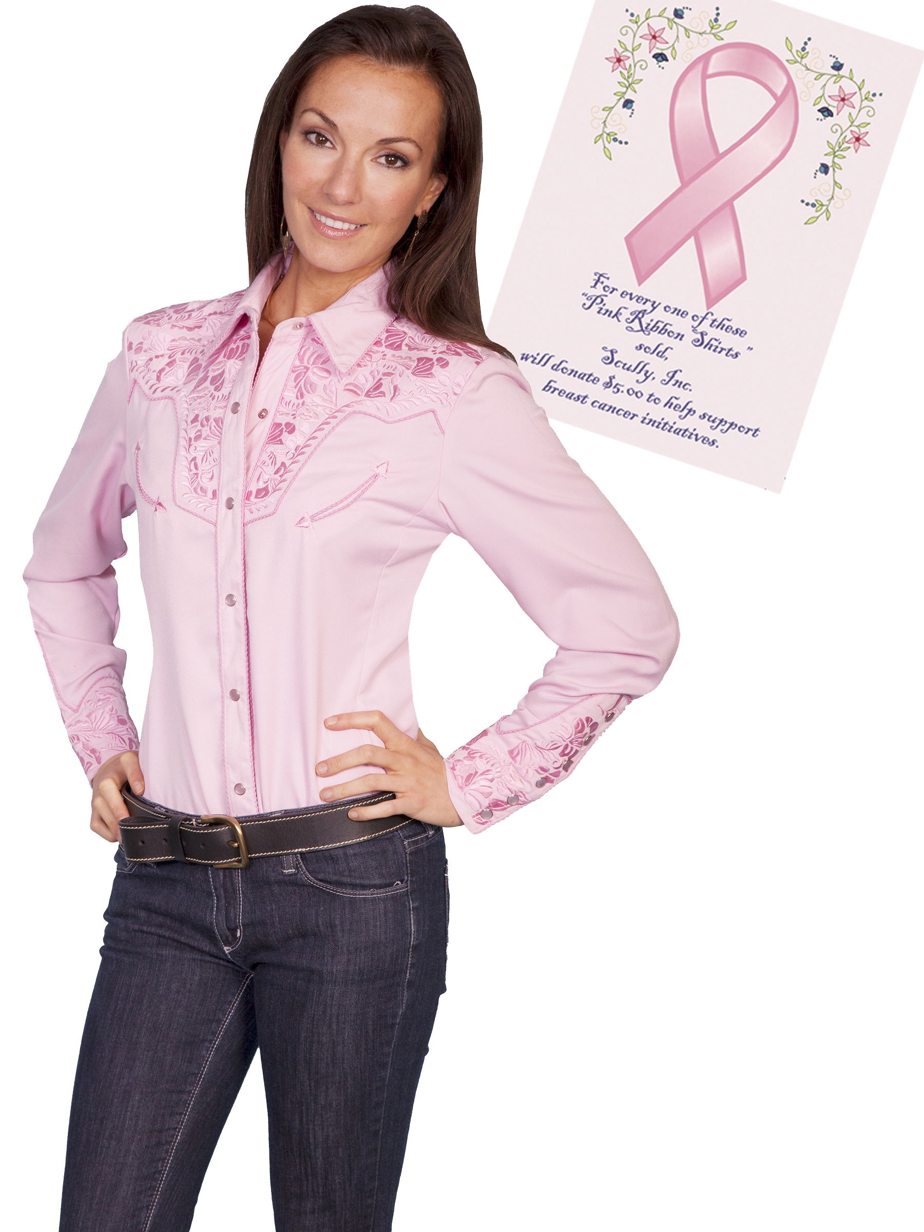 Scully Women's Gunfighter-PINK Western Shirt