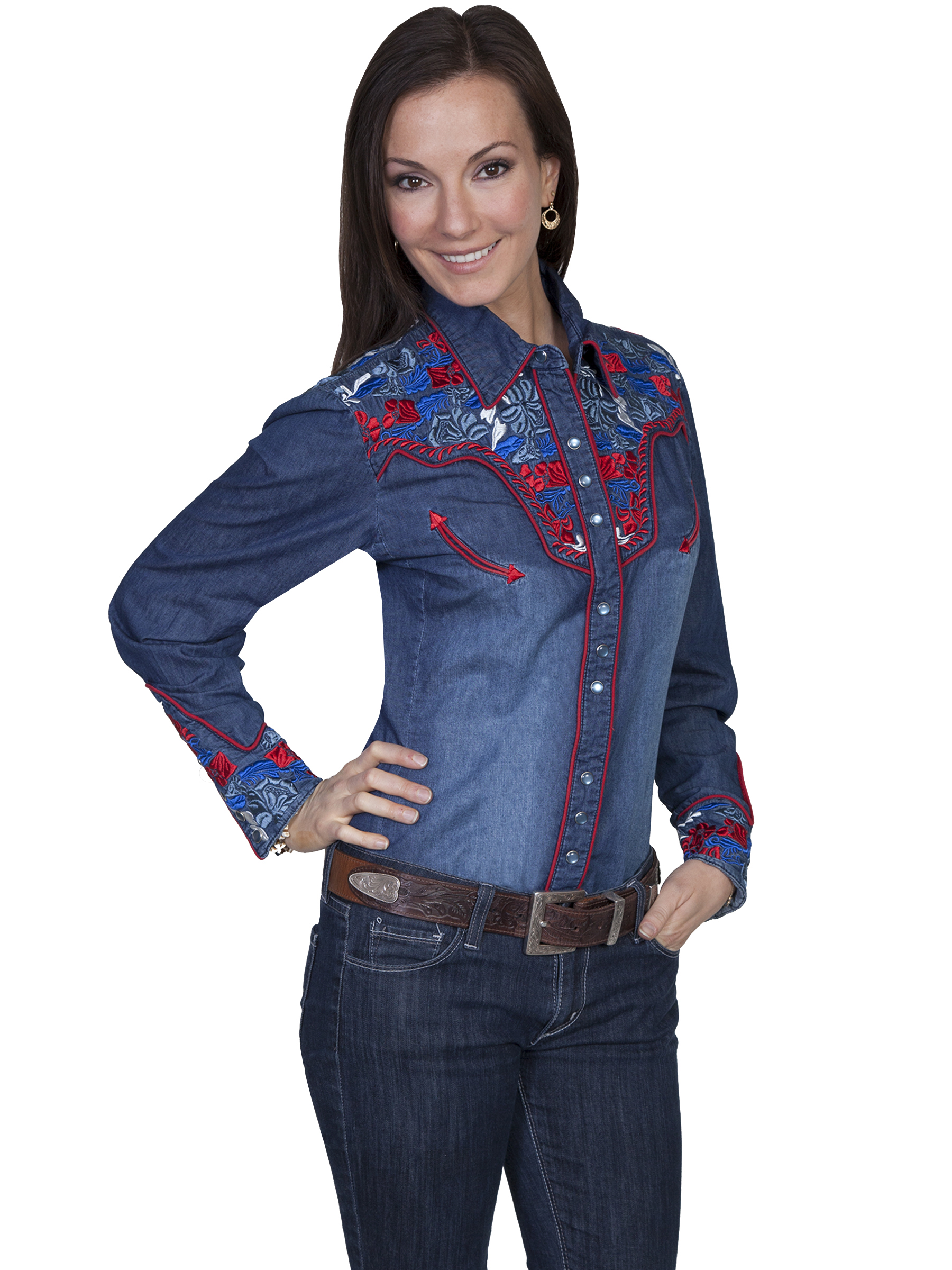 COLORFUL FLORAL TOOLED EMB. SHIRT