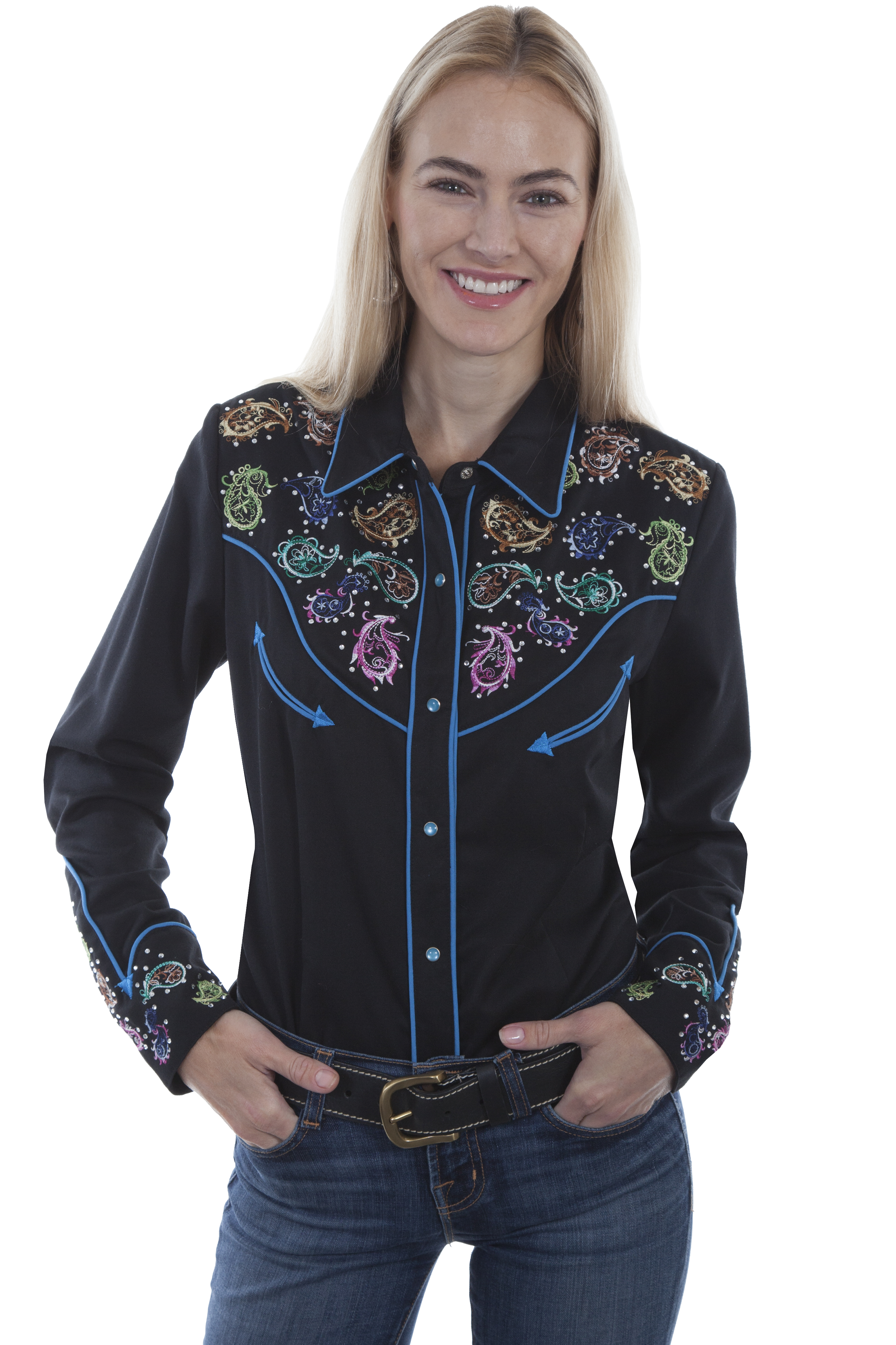 COLORFUL PAISLEY EMB. BLOUSE
